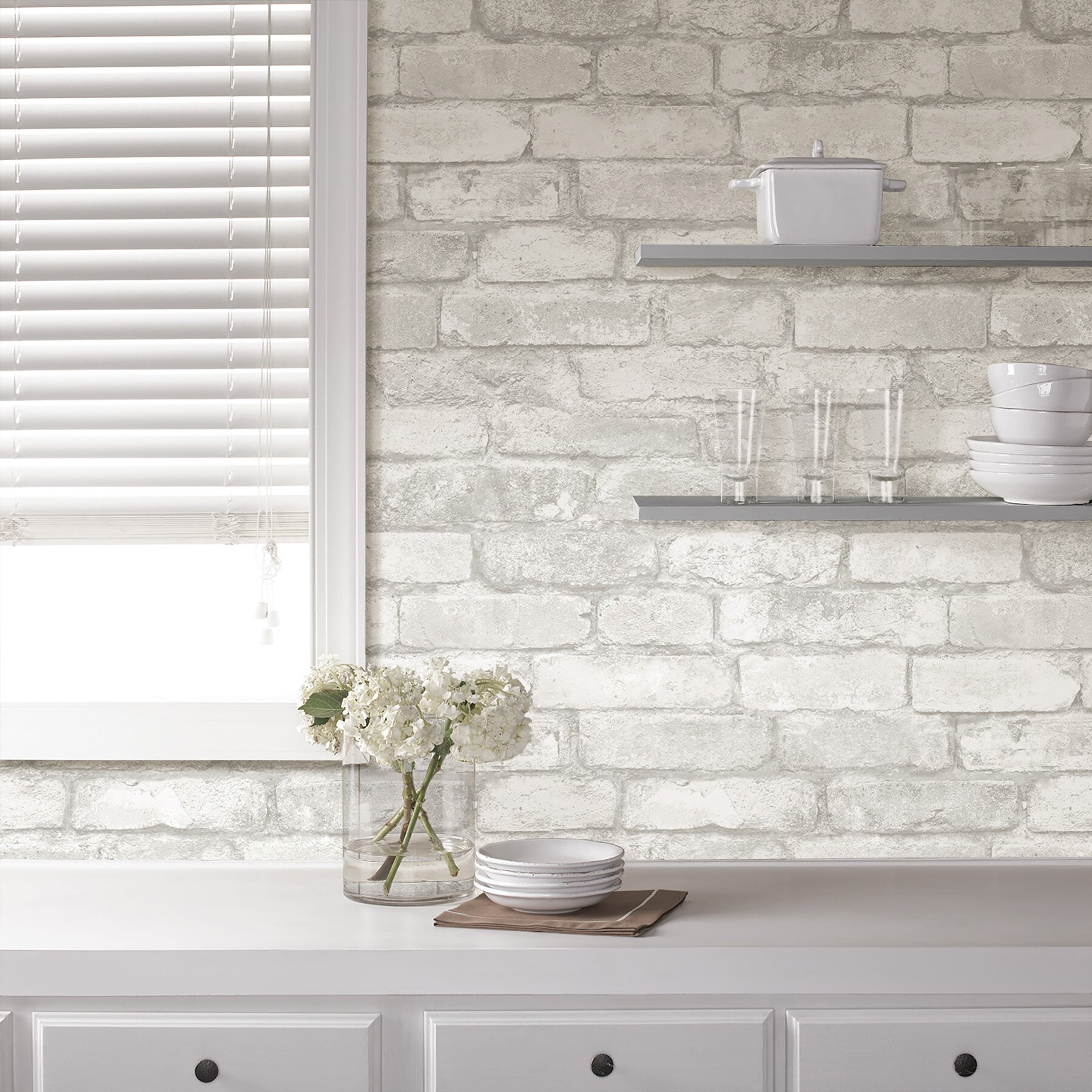 grey and white brick peel and stick wallpaper reviews wayfair
