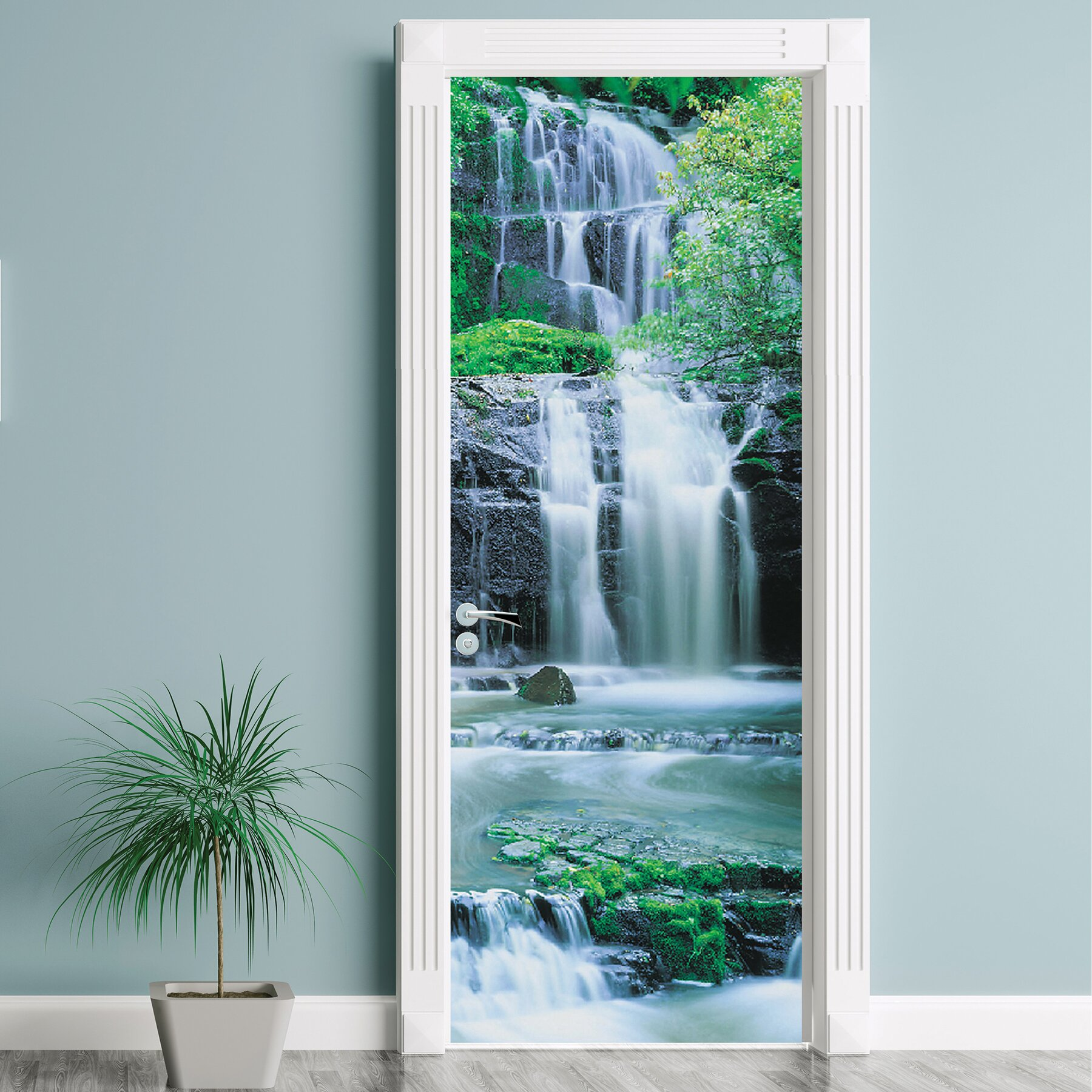 Komar pura kaunui falls wall mural wayfair for Brewster birch wall mural