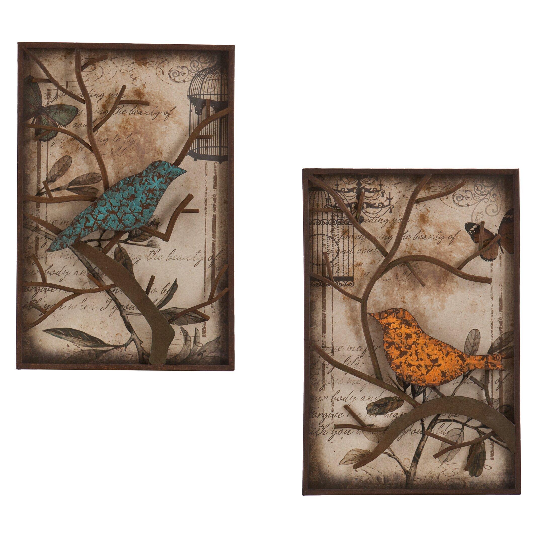Wildon Home 2 Piece Merrick Vintage Bird Wall D Cor Set