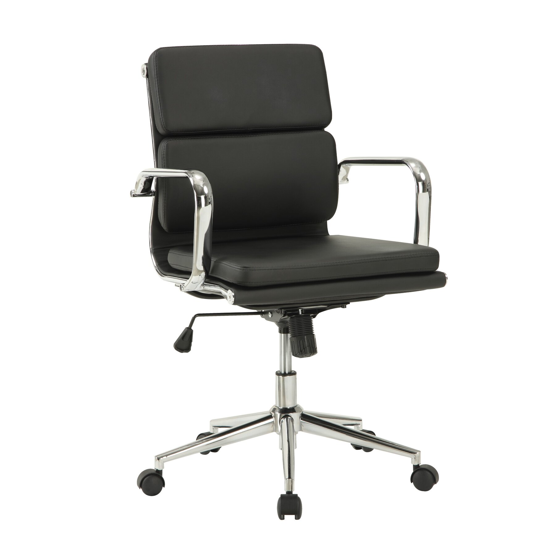 Wildon Home ® Mid-Back Leather Office Chair With Arms