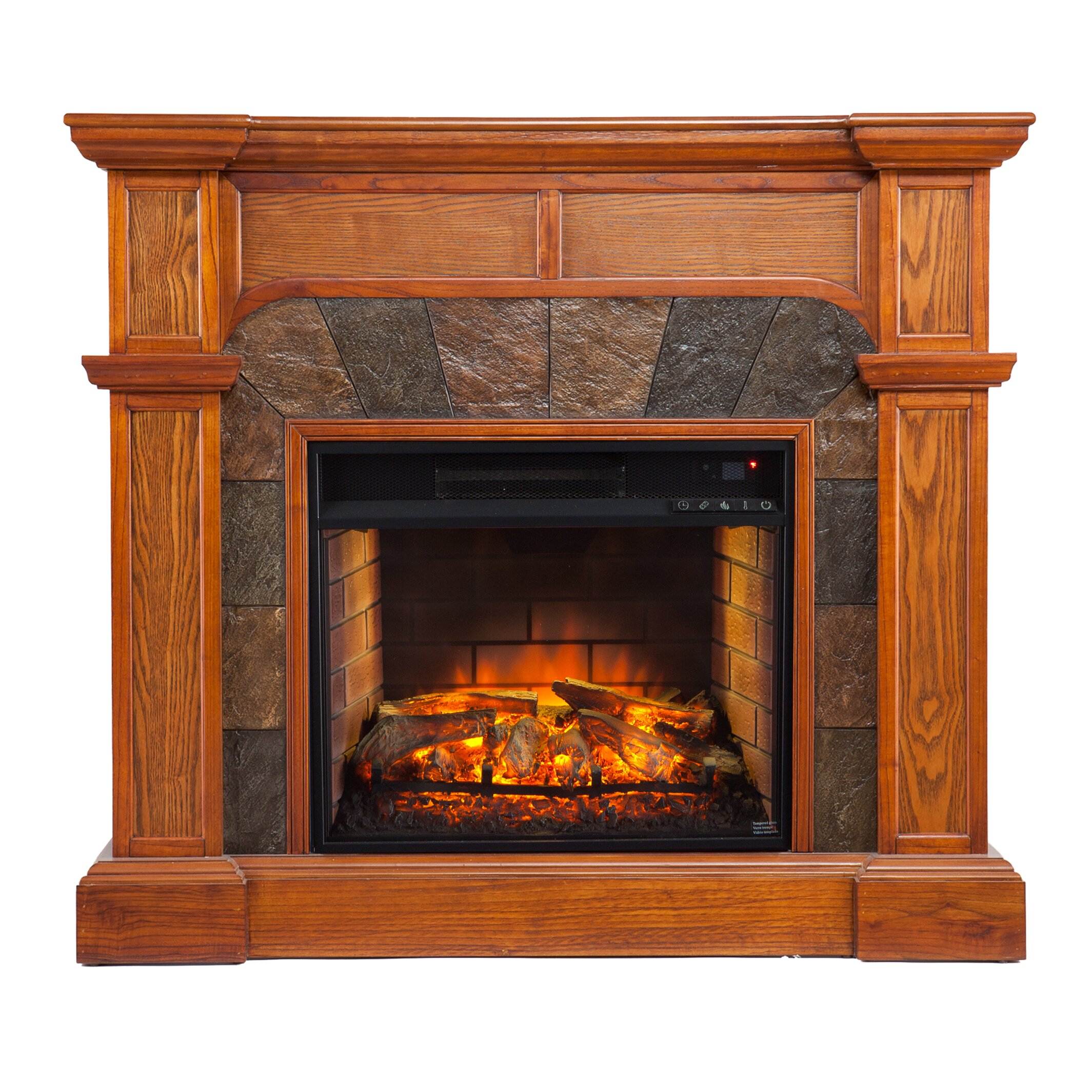 Cairns Faux Stone Corner Infrared Fireplace In Mission Oak