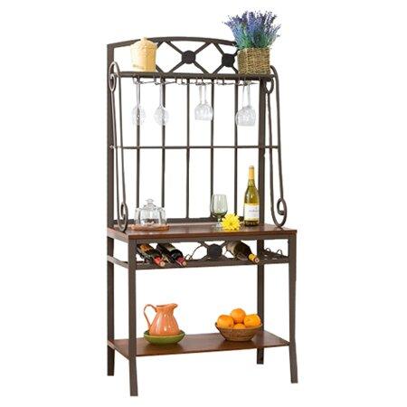 wildon home 174 marabella decorative baker s rack with wine wildon home 174 marabella decorative baker s rack with wine