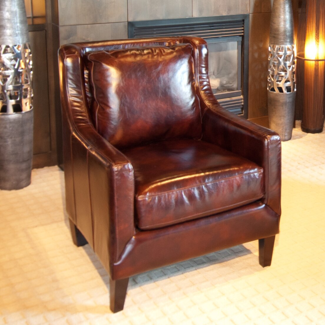 elements fine home furnishings java top grain leather chair reviews wayfair. Black Bedroom Furniture Sets. Home Design Ideas