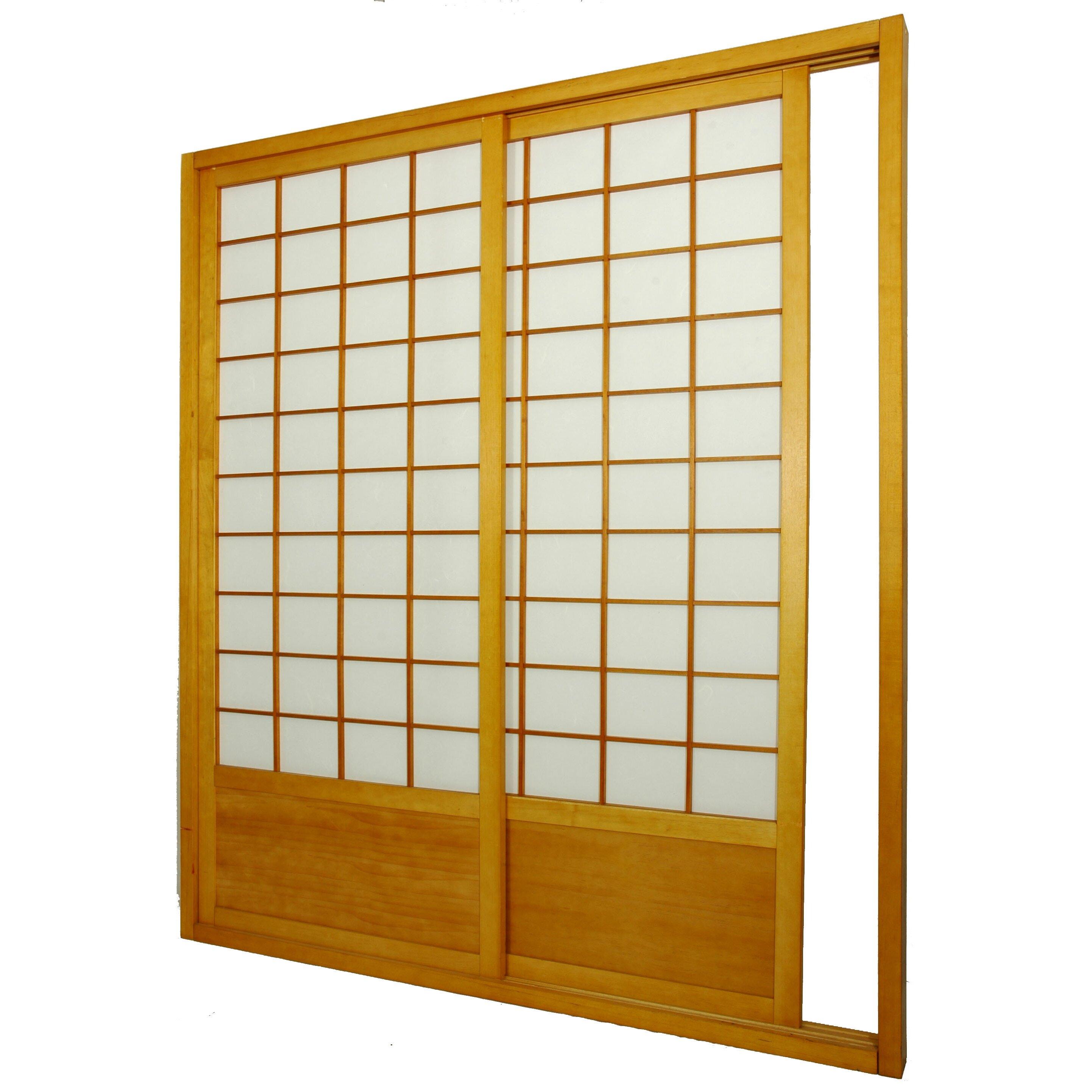 Oriental furniture 83 x 73 5 single sided sliding door shoji room divider reviews wayfair - Shoji room divider ...