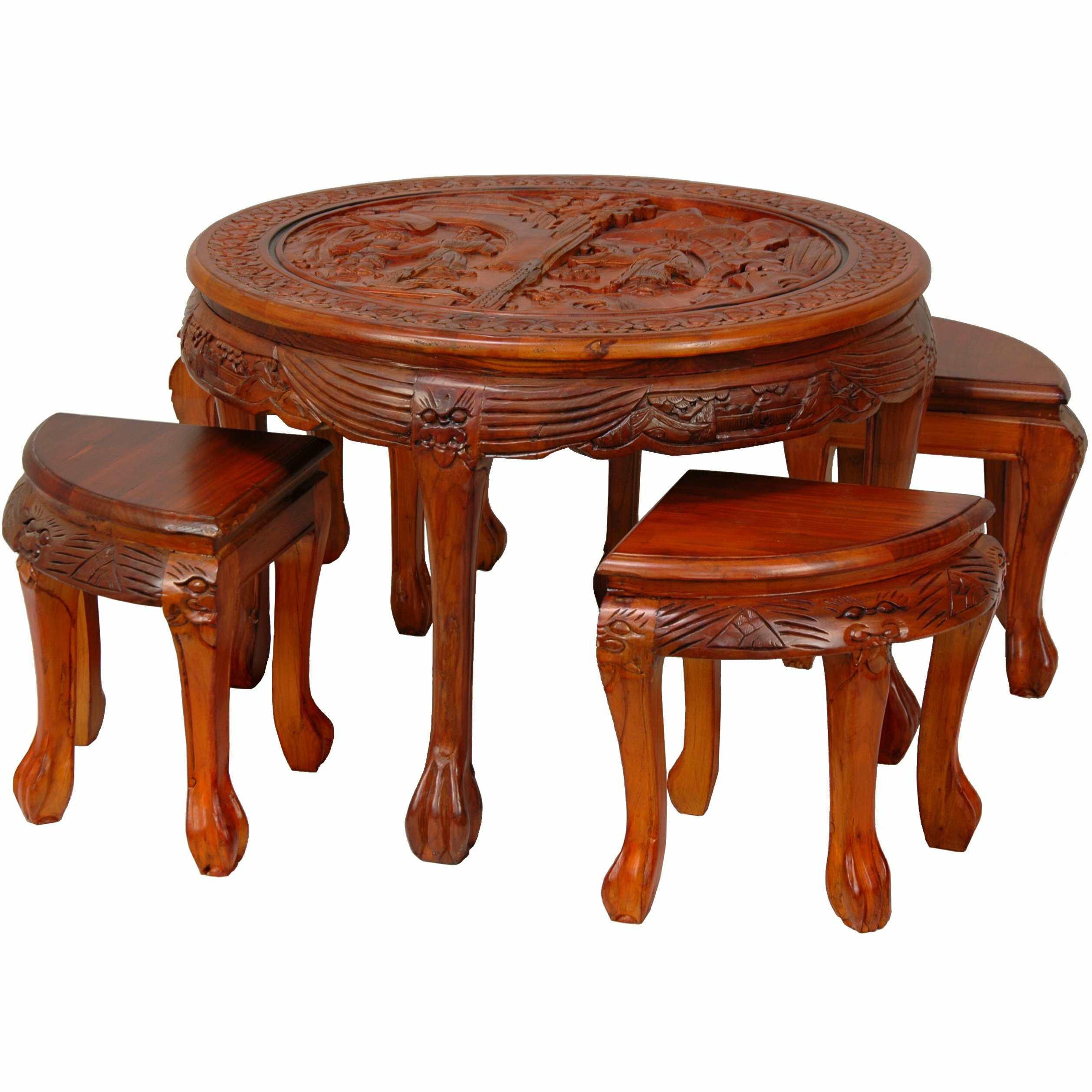 Carved circular coffee table with stool wayfair for Square coffee table with stools