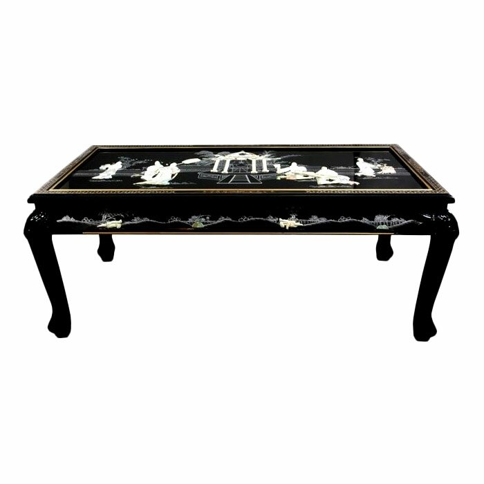 Oriental Oval Coffee Table: Mother Of Pearl Coffee Table With Claw Feet