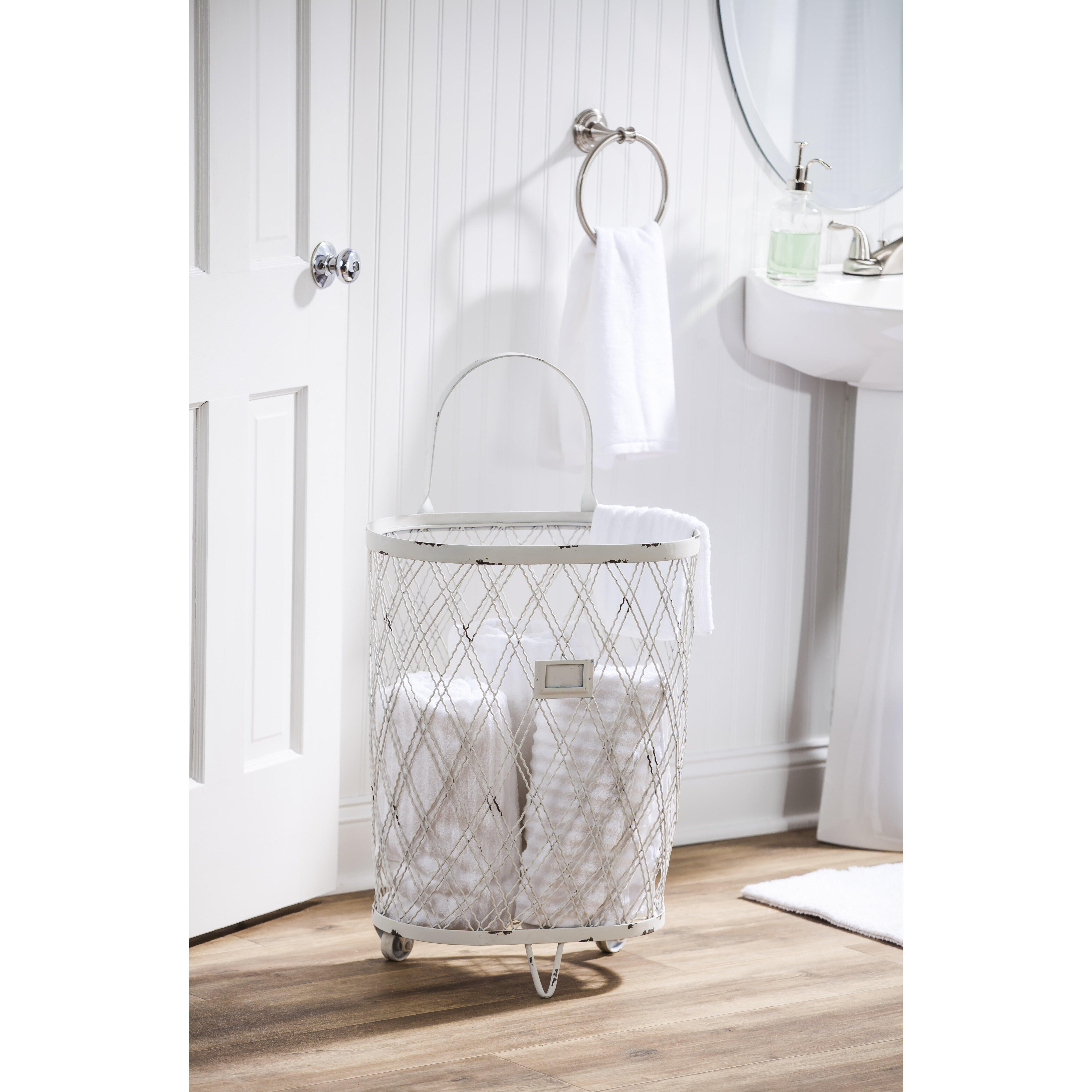 Evergreen enterprises inc vintage storage basket on - Bathroom storage on wheels ...
