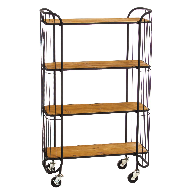 4 Tier Wood And Iron Display Shelf With Locking Wheels