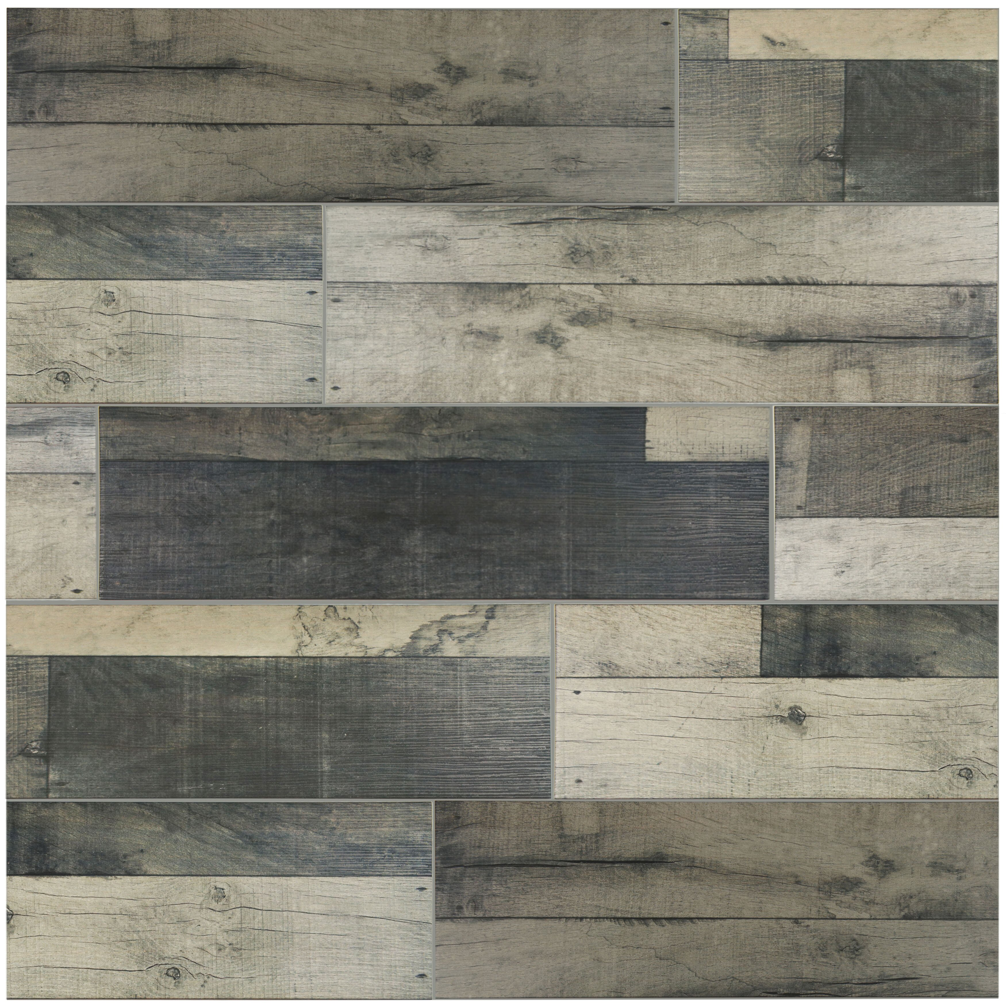 Lena X Ceramic Wood Tile In Gris Wayfair Supply