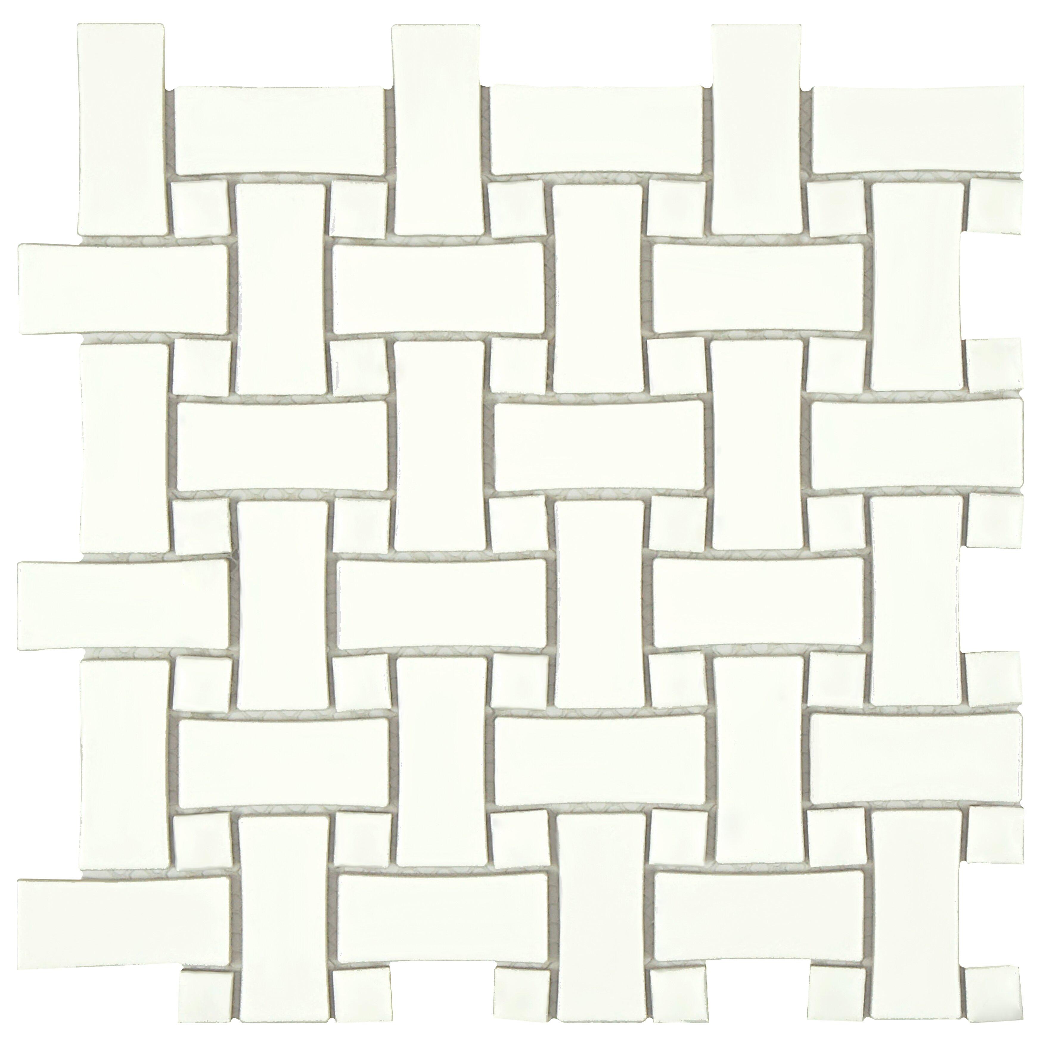 Elitetile Retro Basket Weave 10 5 X 10 5 Porcelain Mosaic Tile In White Reviews Wayfair