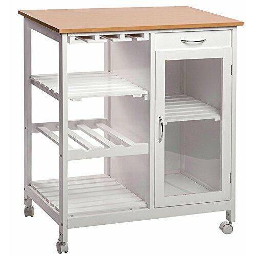 merax kitchen cart with butcher block top reviews wayfair