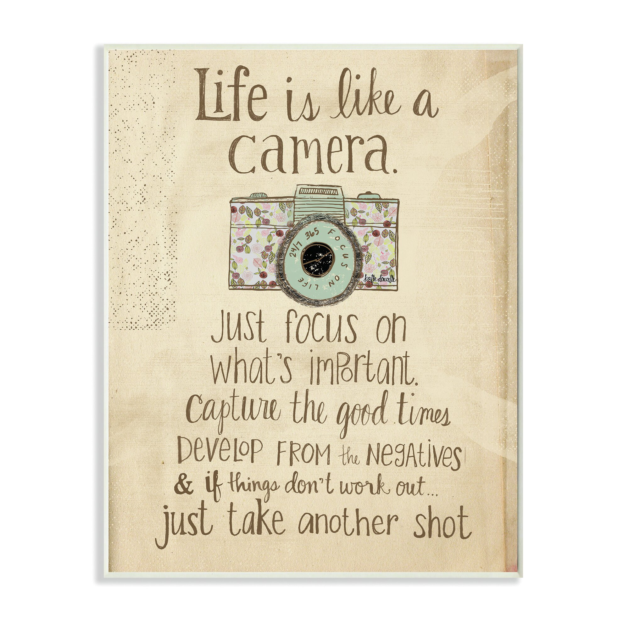 stupell industries life is like a camera inspirational typography wall plaque reviews wayfair. Black Bedroom Furniture Sets. Home Design Ideas