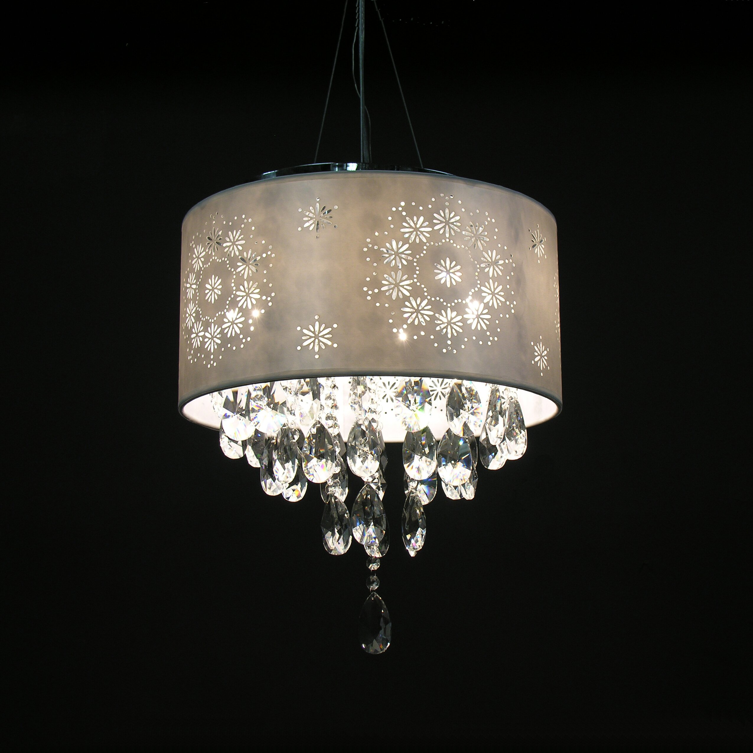 warehouse of tiffany rayan 4 light crystal drum chandelier reviews. Black Bedroom Furniture Sets. Home Design Ideas