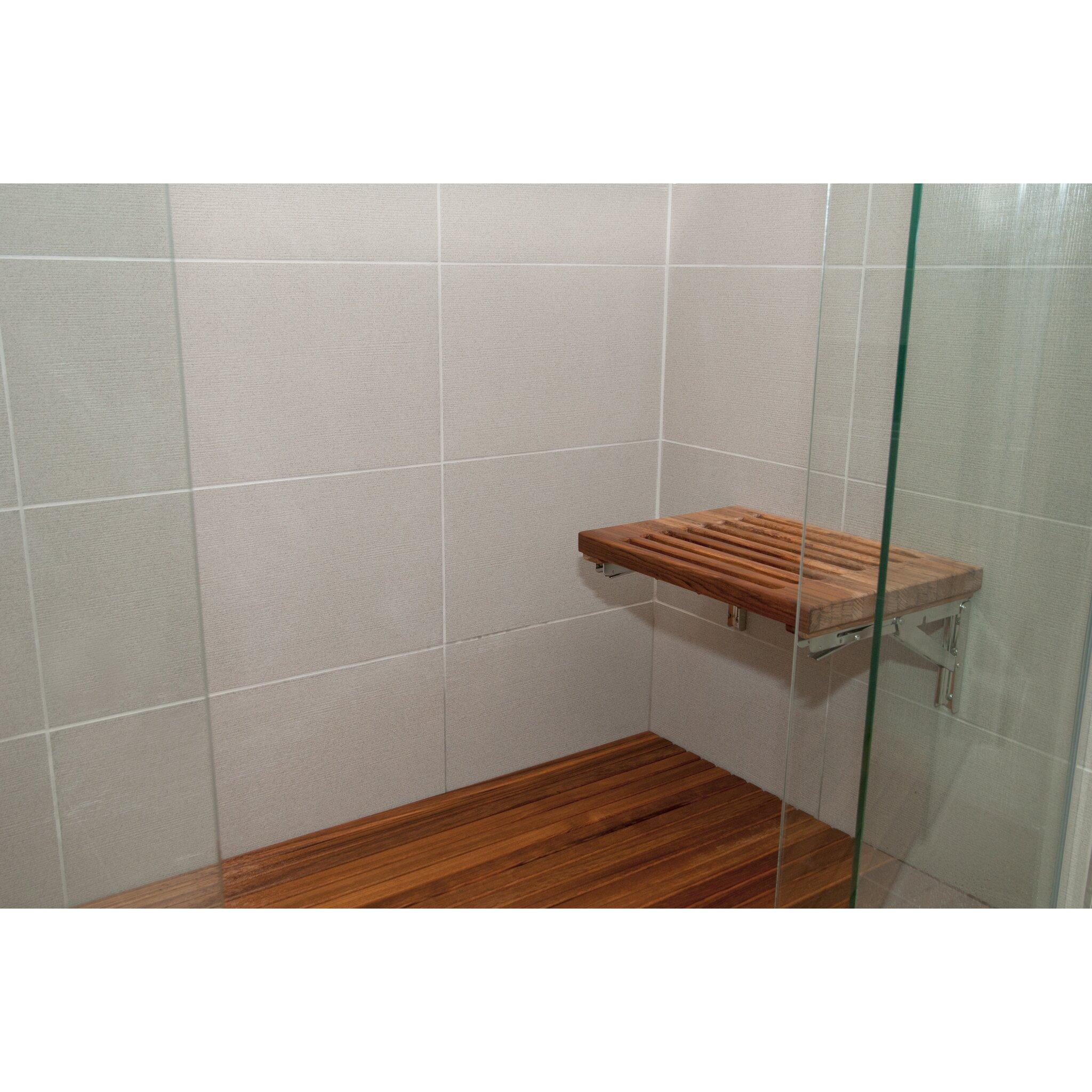 Teakworks4u wall mount foldable teak shower bench amp reviews wayfair