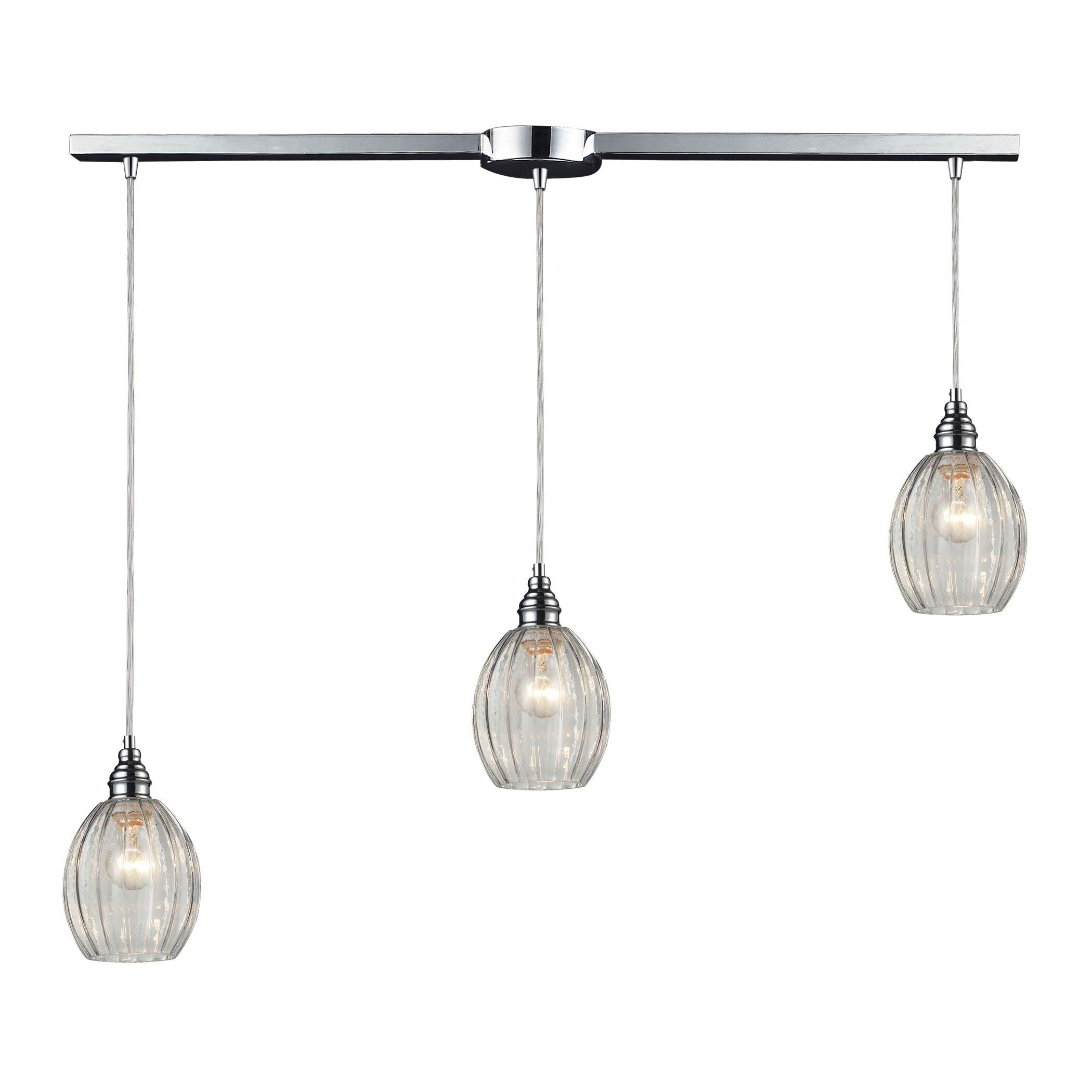Danica 3 light kitchen island pendant wayfair for Kitchen island lighting pendants