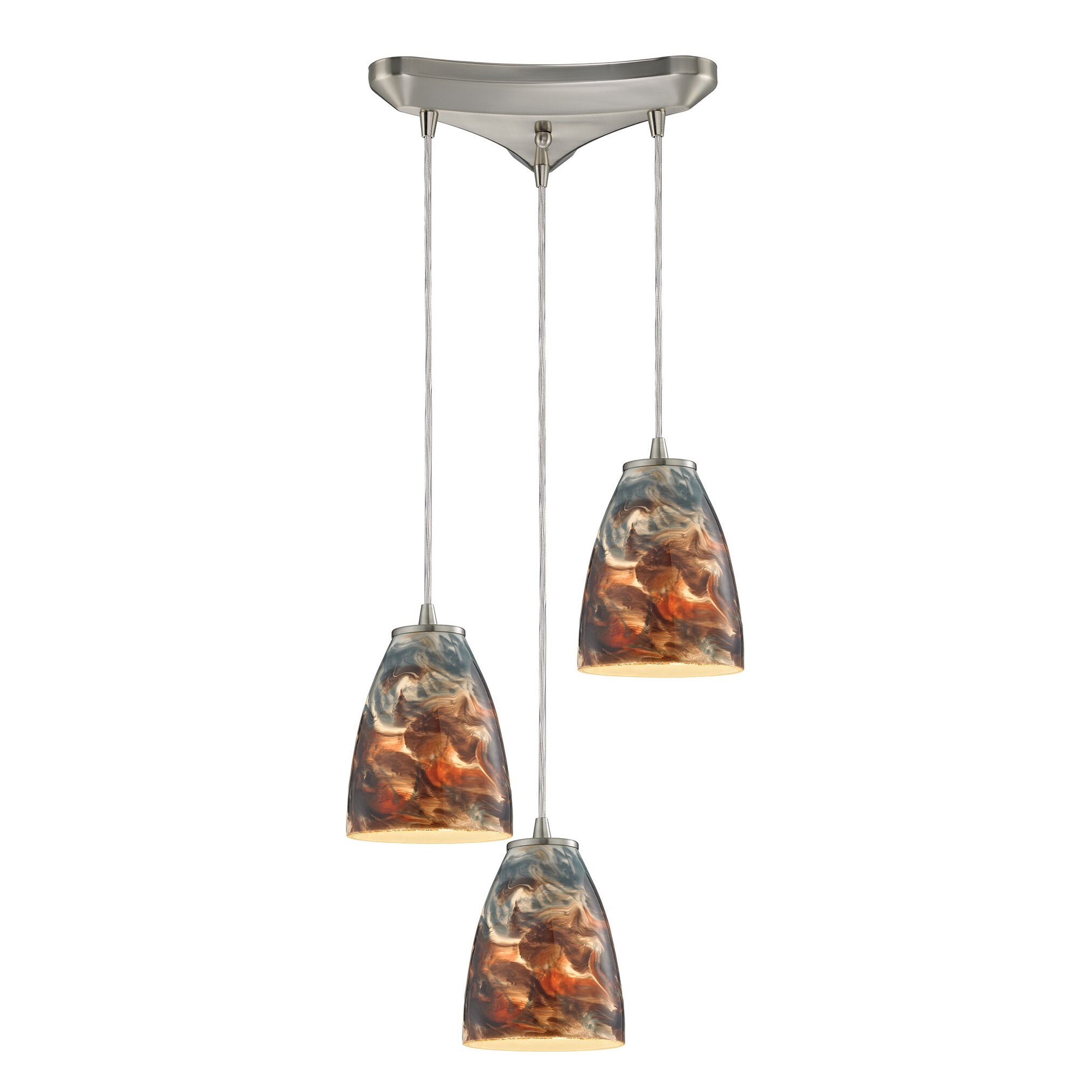 Abstractions 3 light kitchen island pendant wayfair for 3 light pendant island kitchen lighting