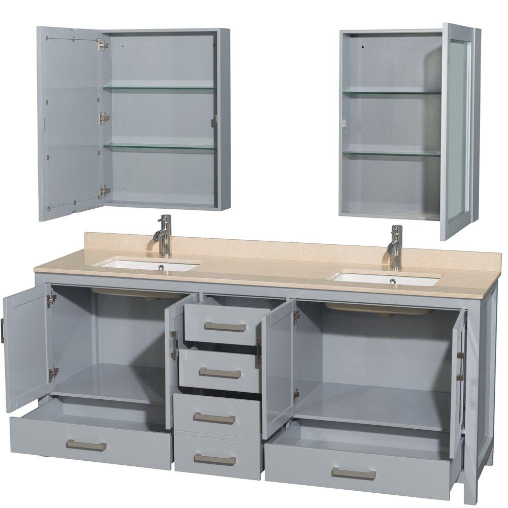 Sheffield 80 Double Bathroom Vanity Set With Medicine Cabinet With Mirror Wayfair
