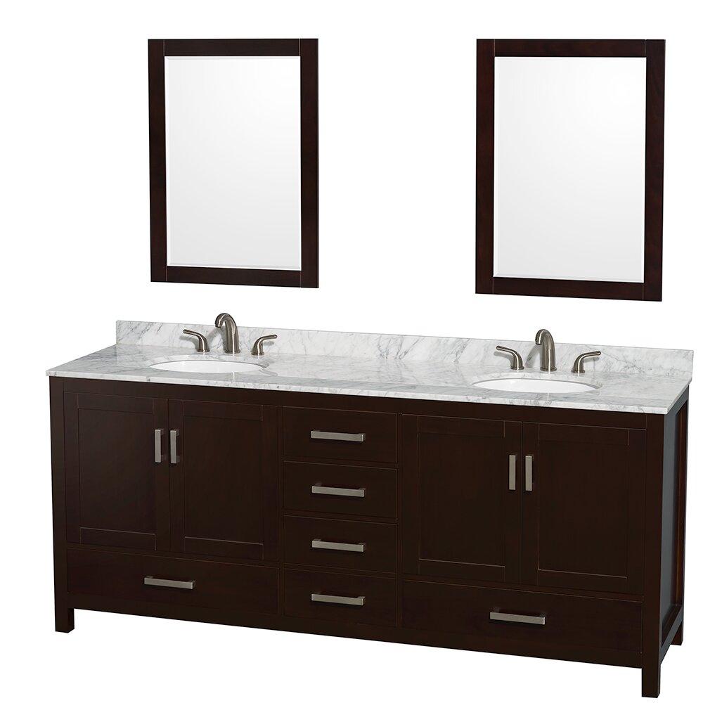 sheffield 80 double bathroom vanity set with mirror wayfair