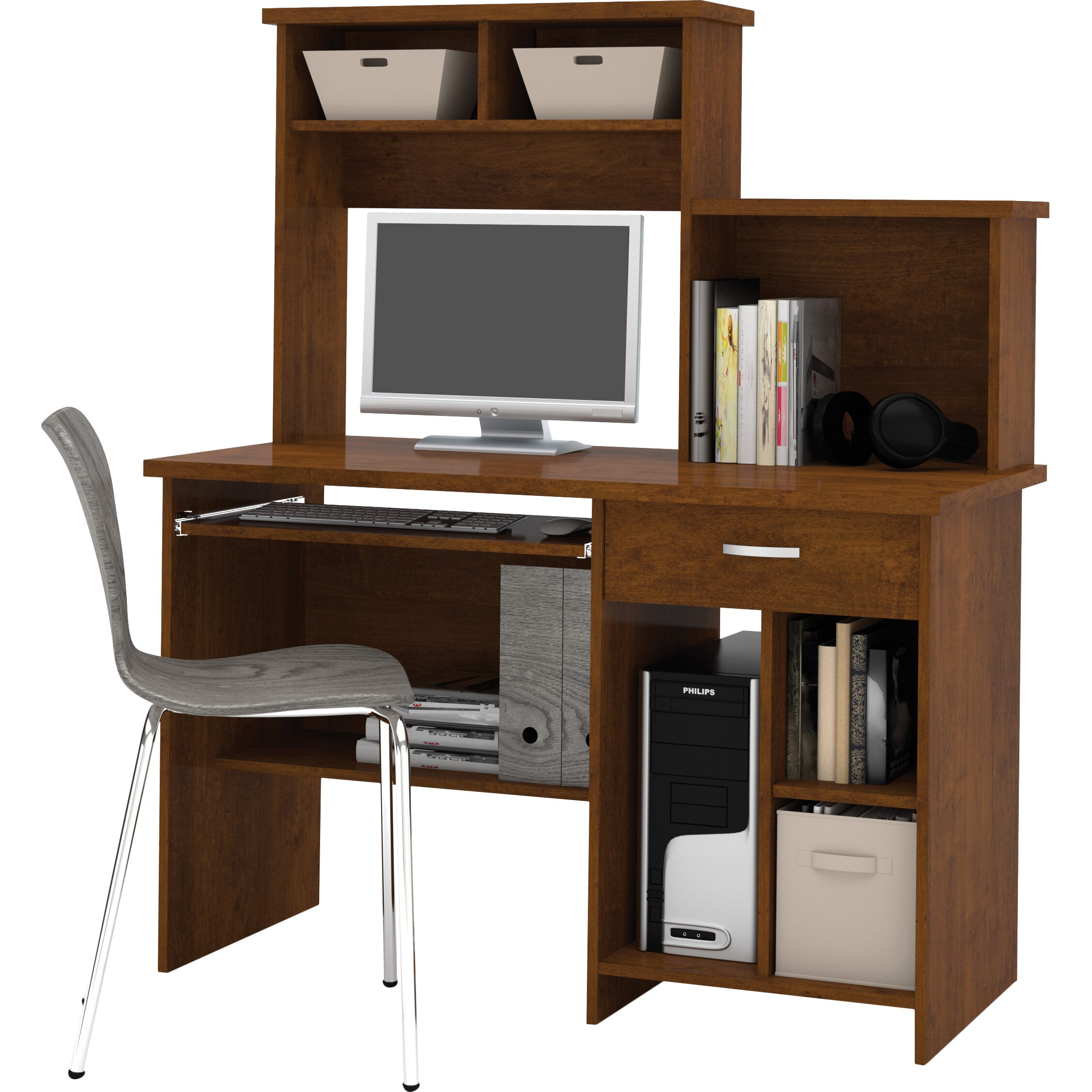 Awesome Leaning Shelf Bookcase With Computer Desk Office Furniture Home  Home