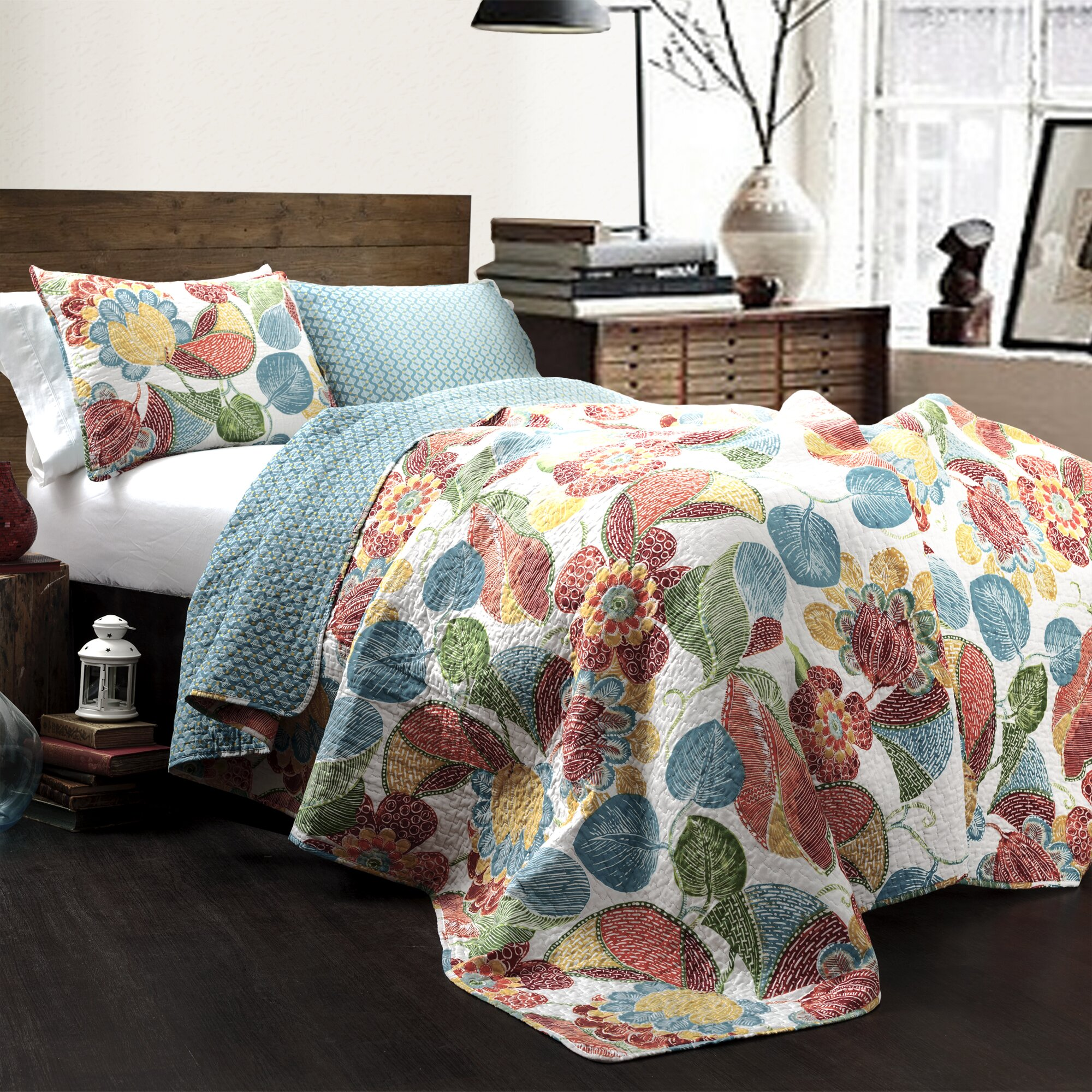 Layla 3 Piece Reversible Coverlet Set by Lush Decor