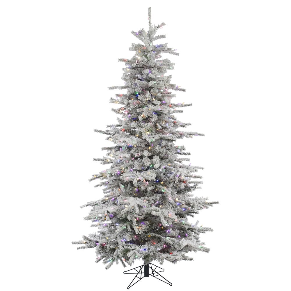 vickerman 7 5 39 flocked slim sierra artificial christmas tree with 700. Black Bedroom Furniture Sets. Home Design Ideas