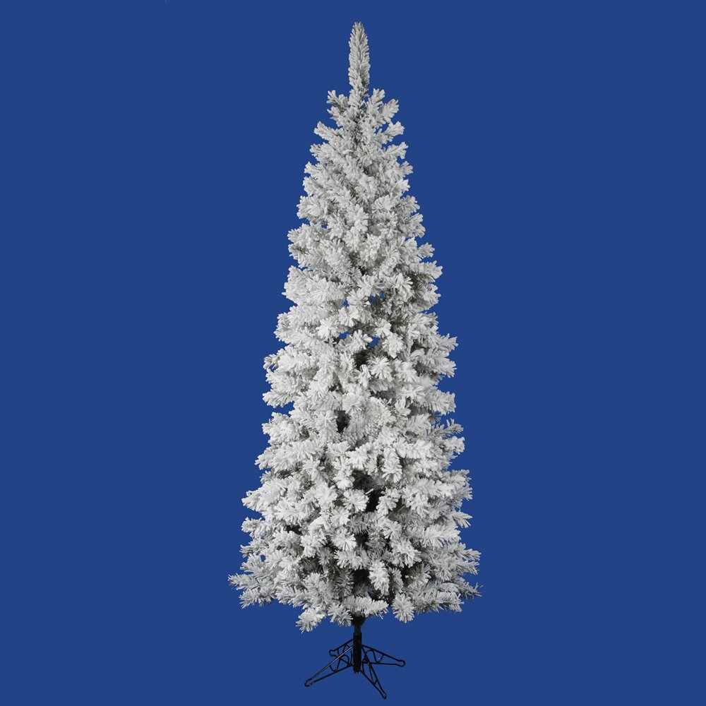 Vickerman Flocked Pacific Pine 7.5' White Artificial ...