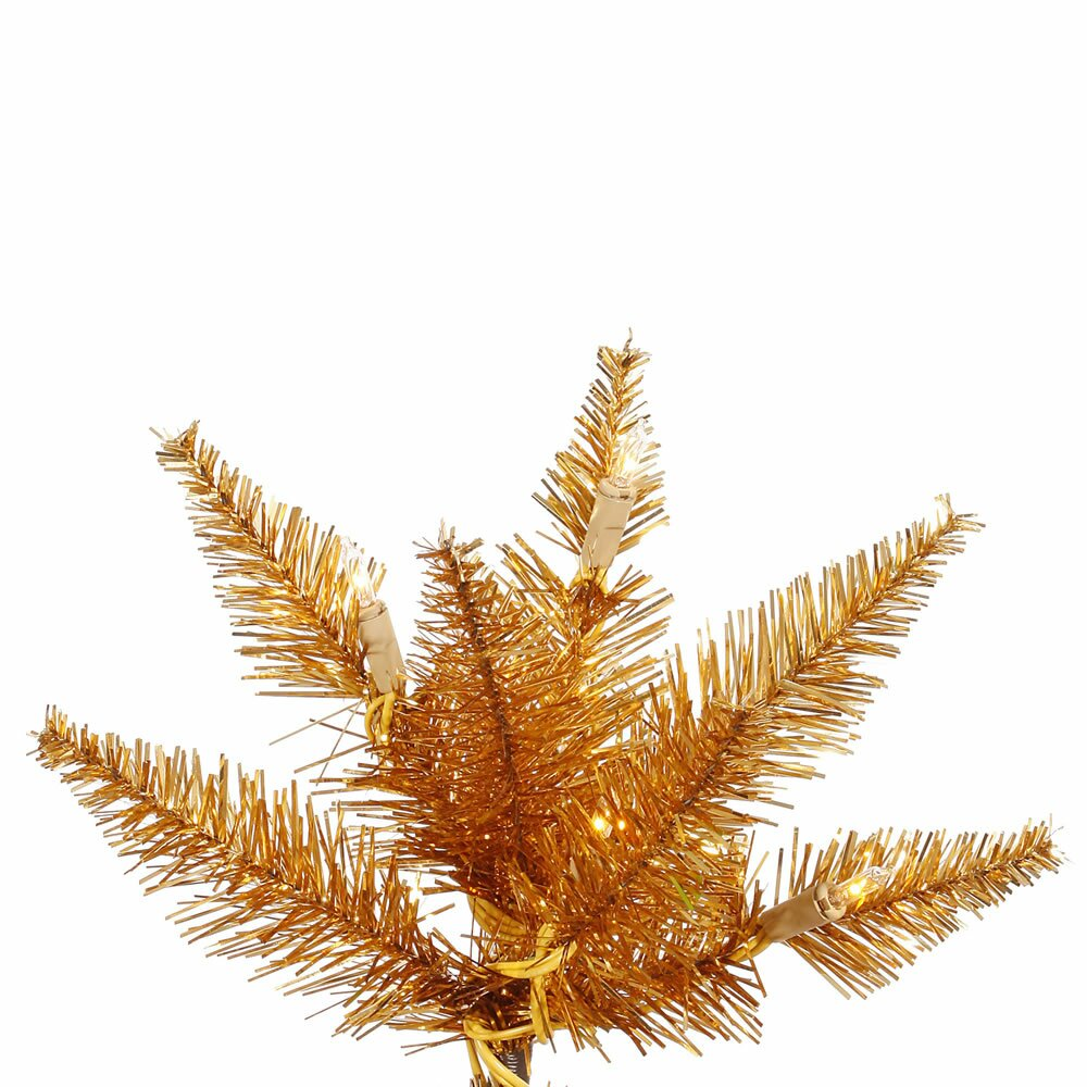 Vickerman 7.5 Copper Slim Fir Artificial Christmas Tree with 500 Mini