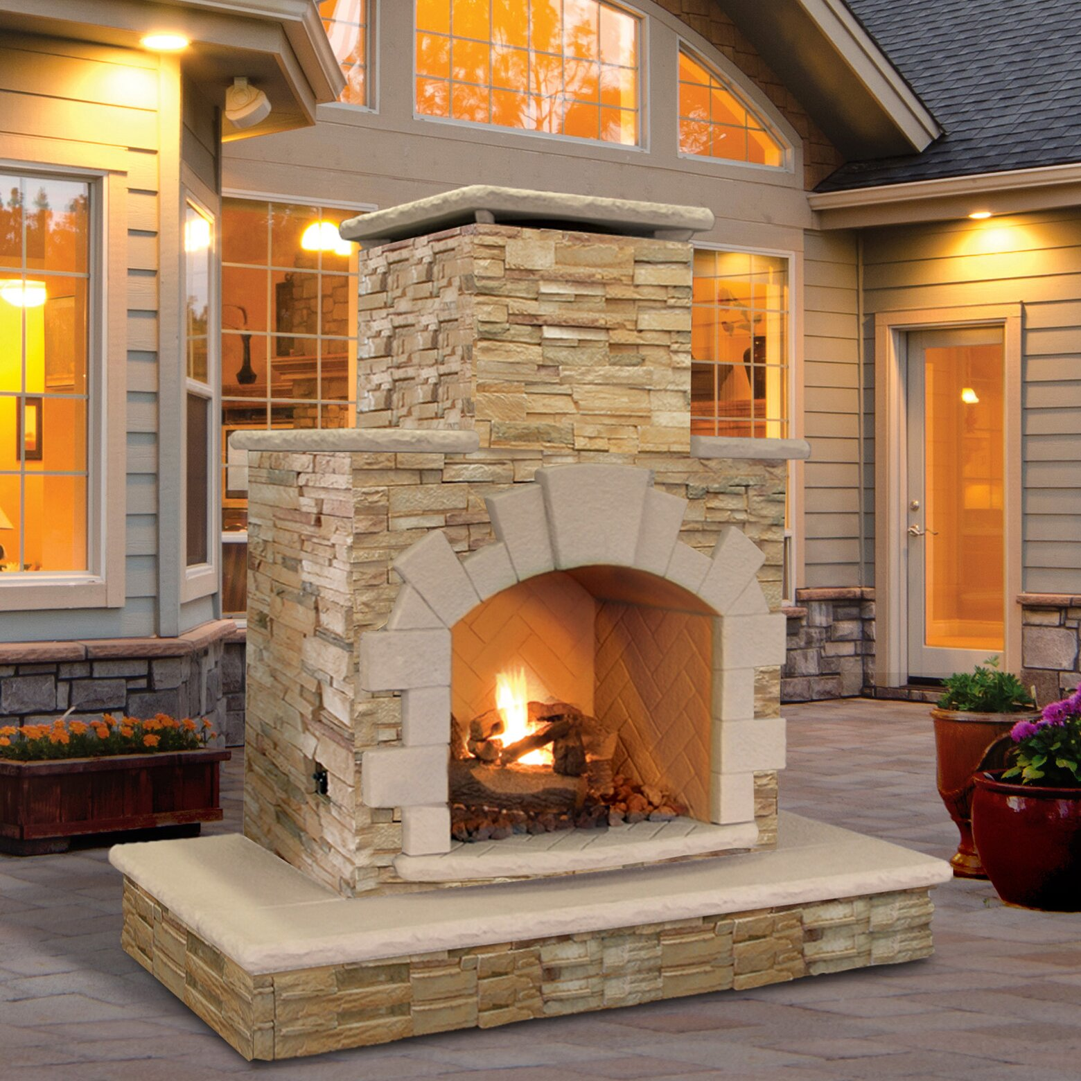 natural stone propane gas outdoor fireplace wayfair