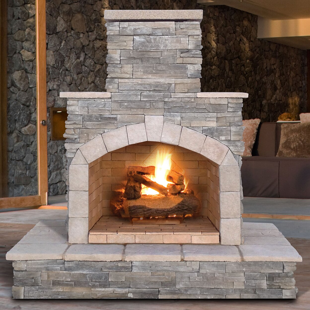 natural stone propane gas outdoor fireplace reviews wayfair