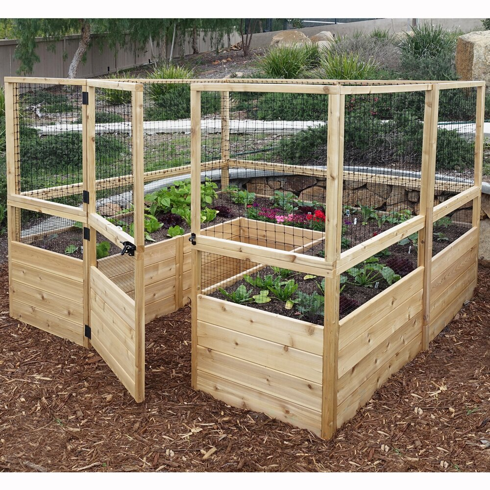 Square Raised Garden With Deer Fence Kit Wayfair