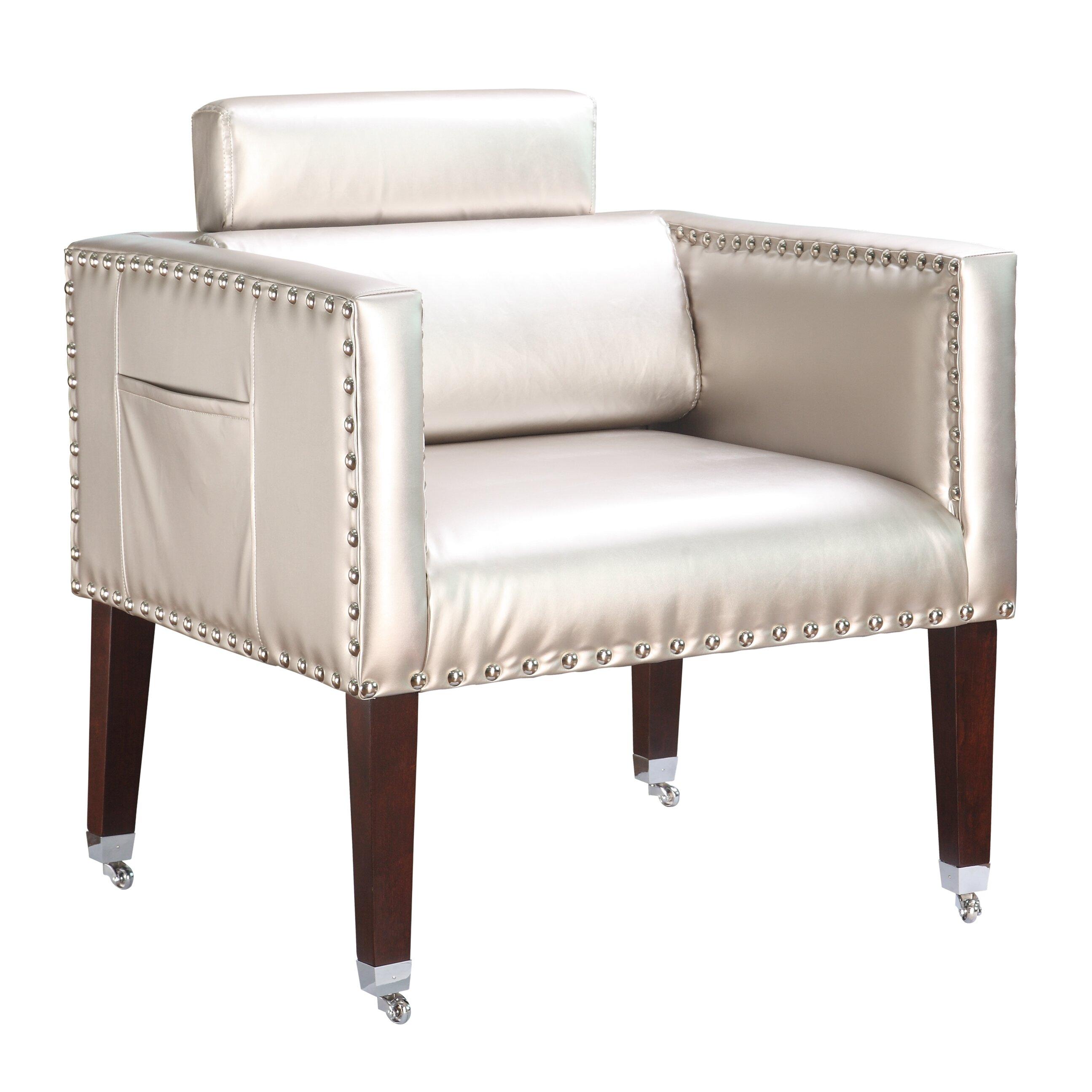 Silver Metallic Vinyl Accent Chair: Winmark Silver Dentist Vinyl Lounge Chair