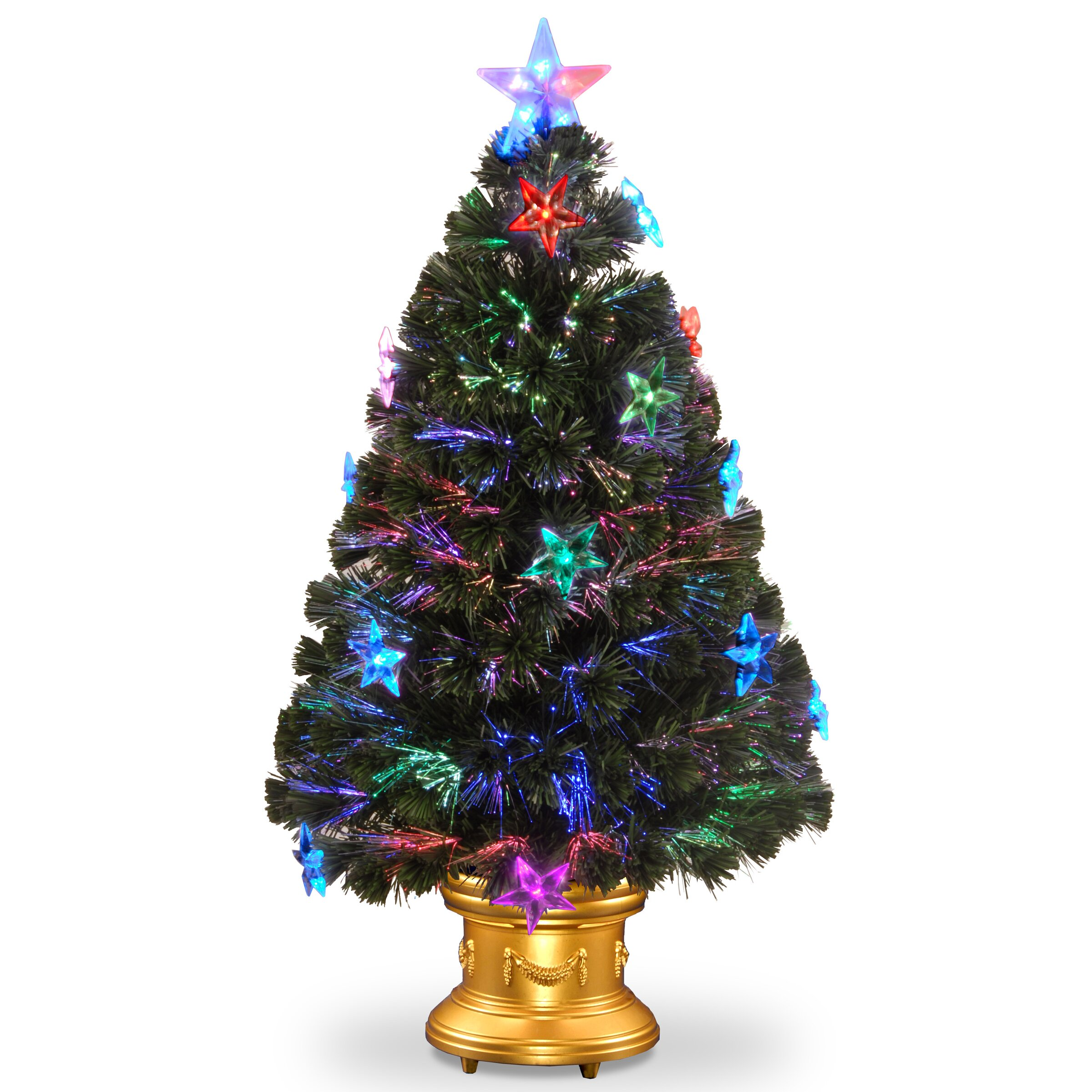 "7 5 Fiber Optic Christmas Tree: National Tree Co. Fiber Optics 3"" Green Firework"