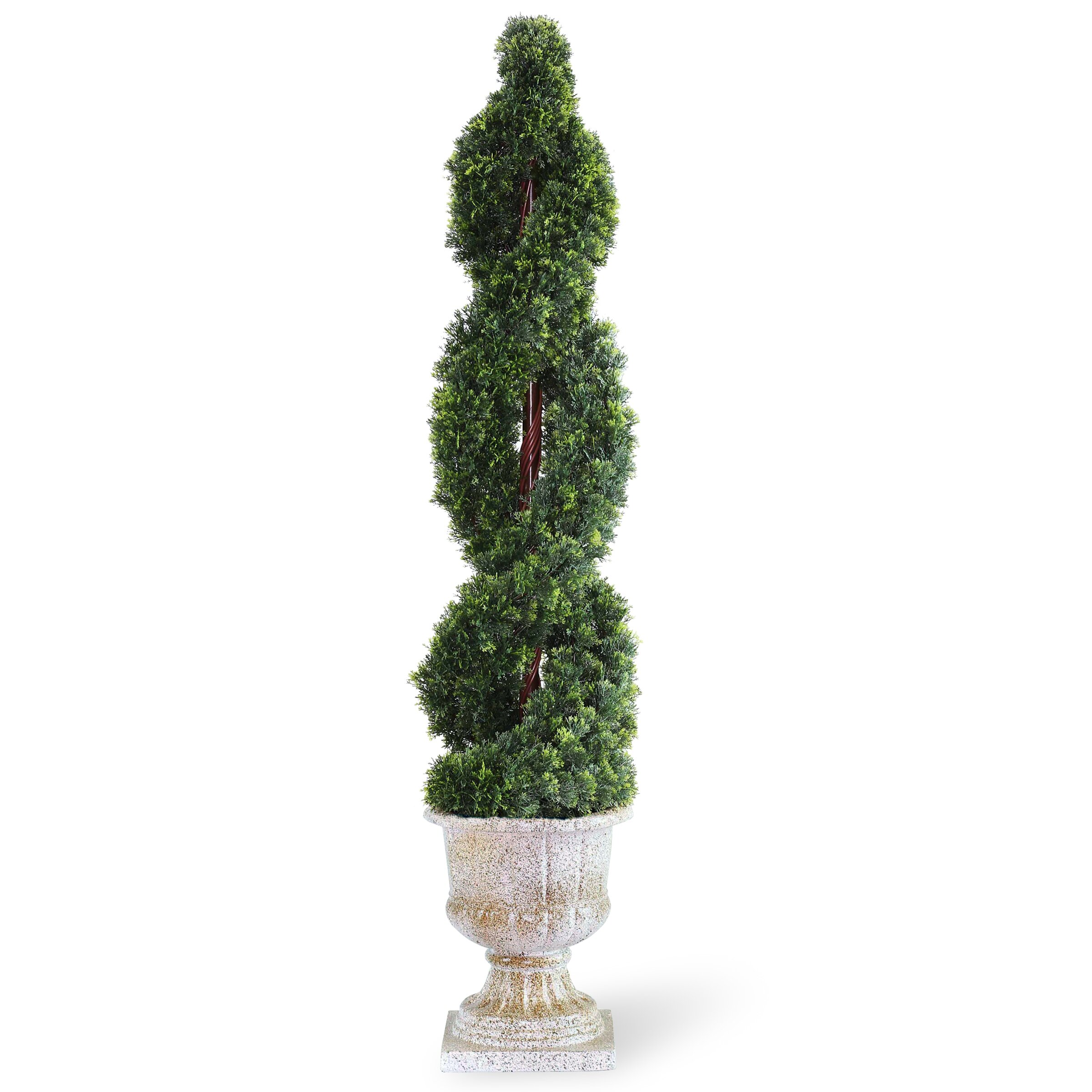 Topiary Spiral Trees: National Tree Co. Double Cedar Spiral Topiary In Urn