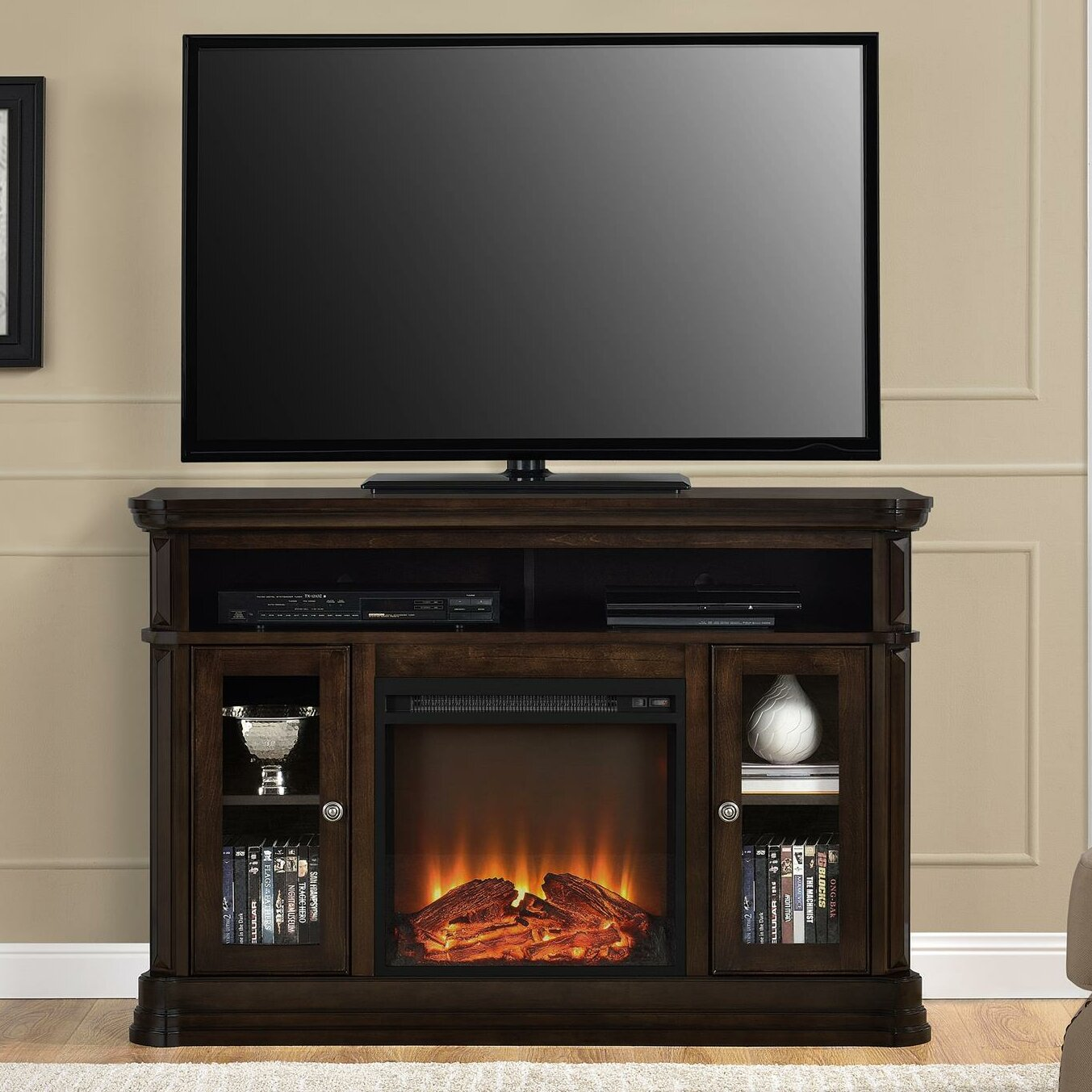 darby home co hannon tv stand with electric fireplace
