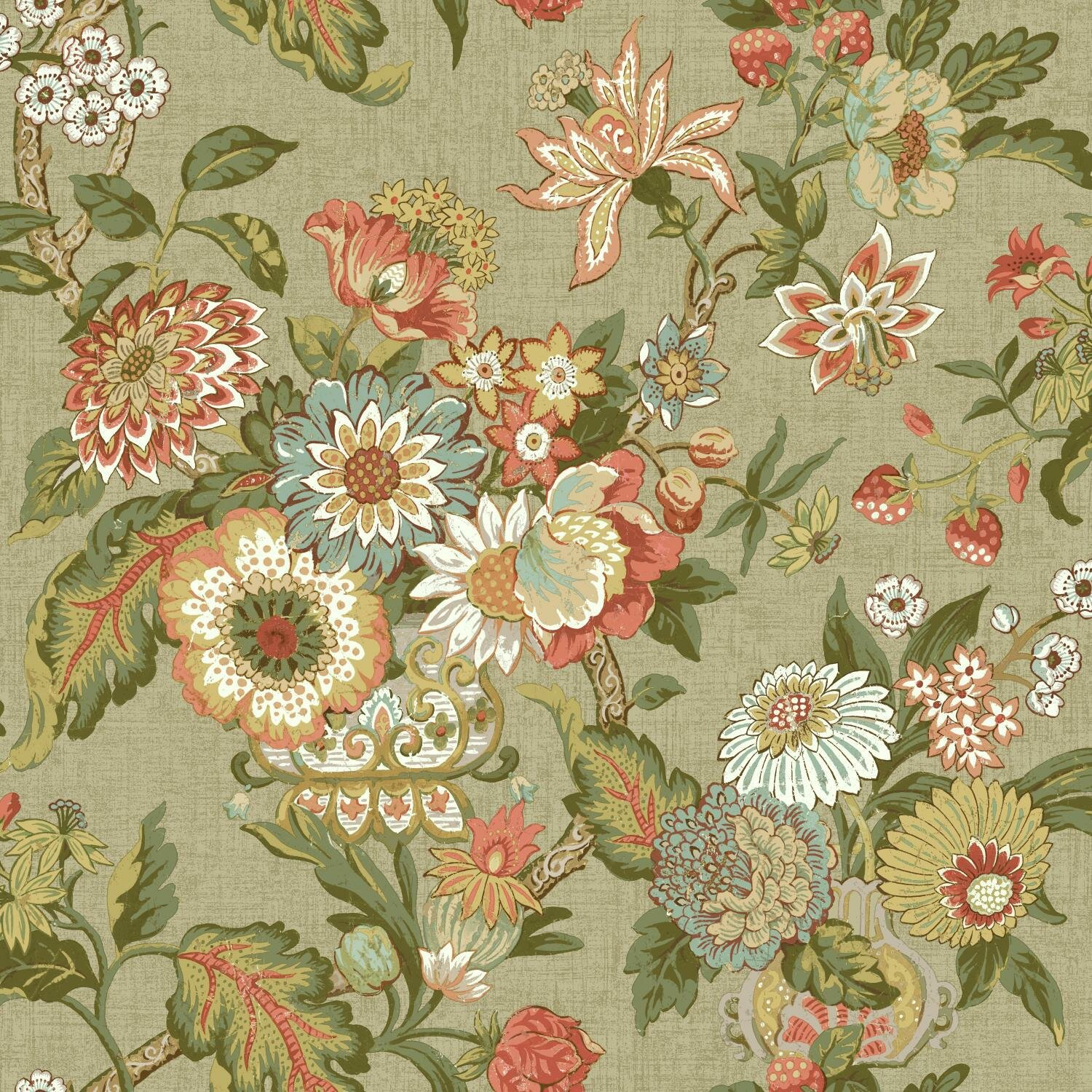 """York Wallcoverings Waverly Global Chic 33' X 20.5"""" Floral"""