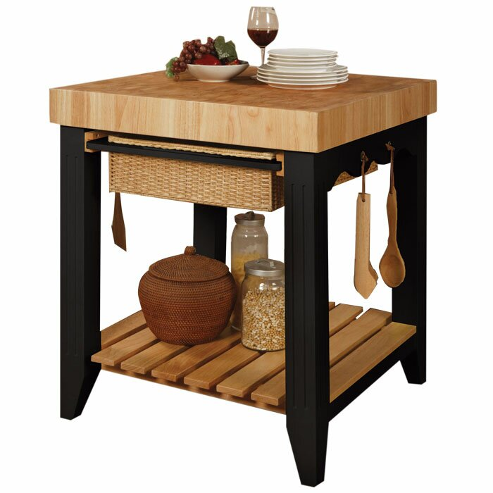 powell color story prep table with butcher block top powell kitchen island with accessory kit natural black