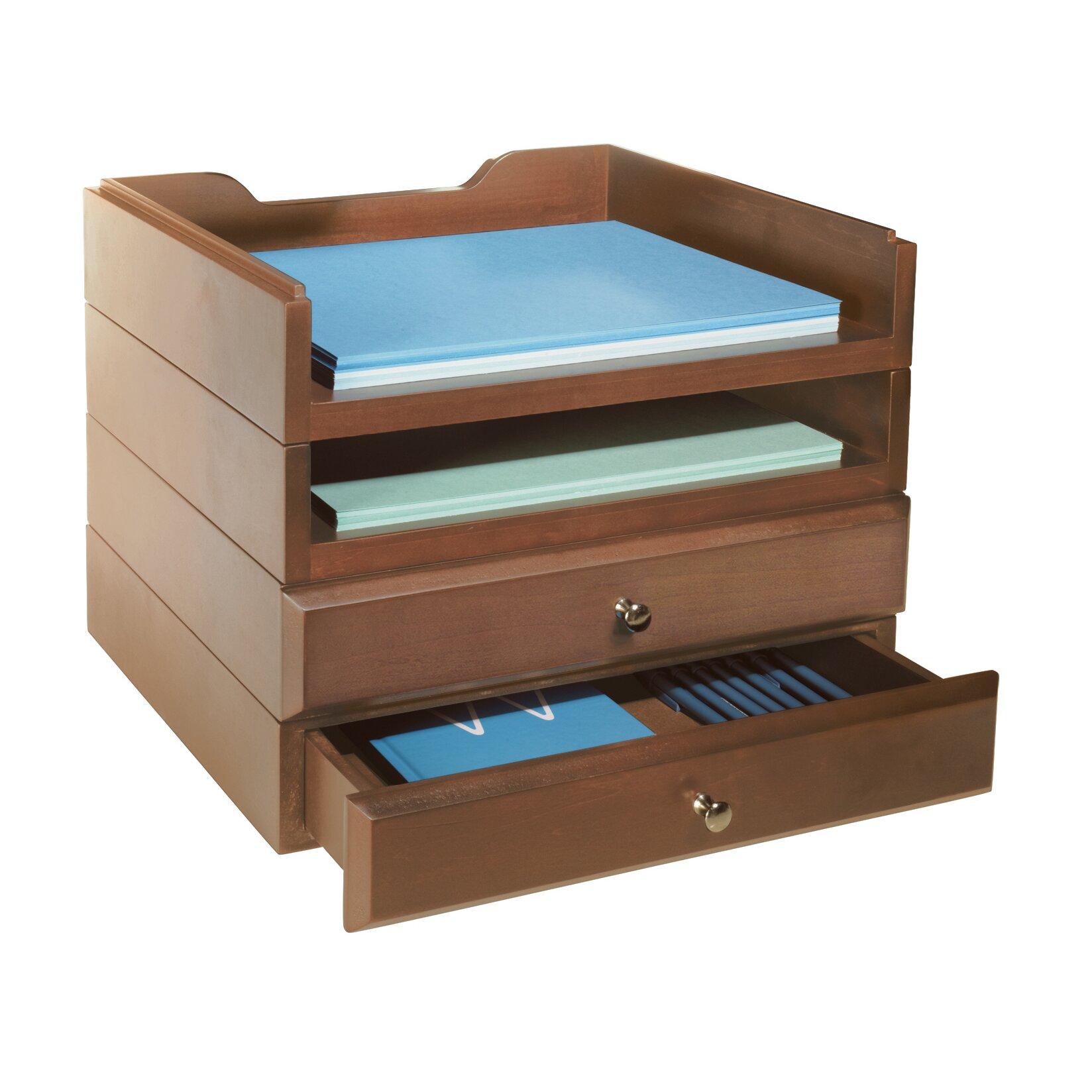 Bindertek stacking wood desk organizers tray drawer