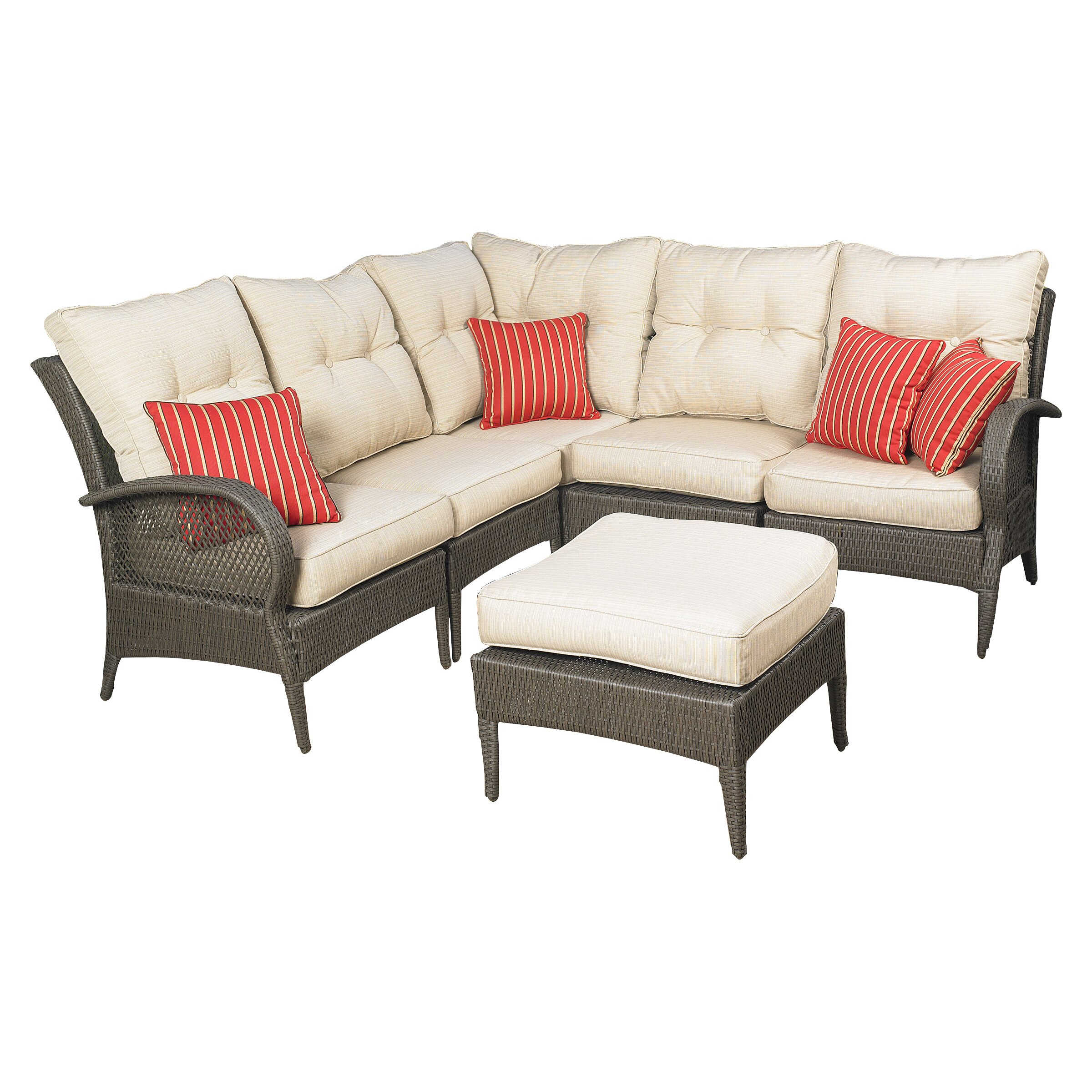 Mission Hills Laguna 6 Piece Sectional Deep Seating Group with Cushions &