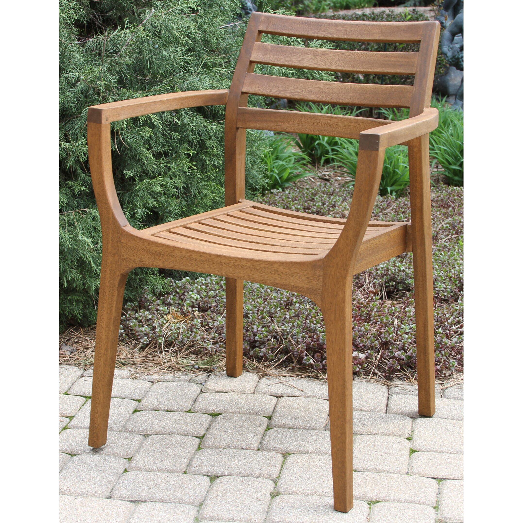 Outdoor interiors danish eucalyptus stacking chair reviews wayfair for Outdoor interiors eucalyptus rocking chair