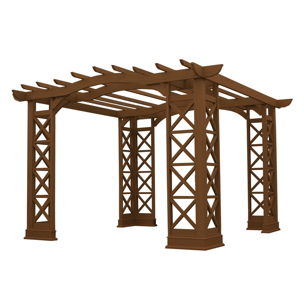 yardistry arched roof 12 ft w x 12 ft d cedar pergola reviews wayfair. Black Bedroom Furniture Sets. Home Design Ideas