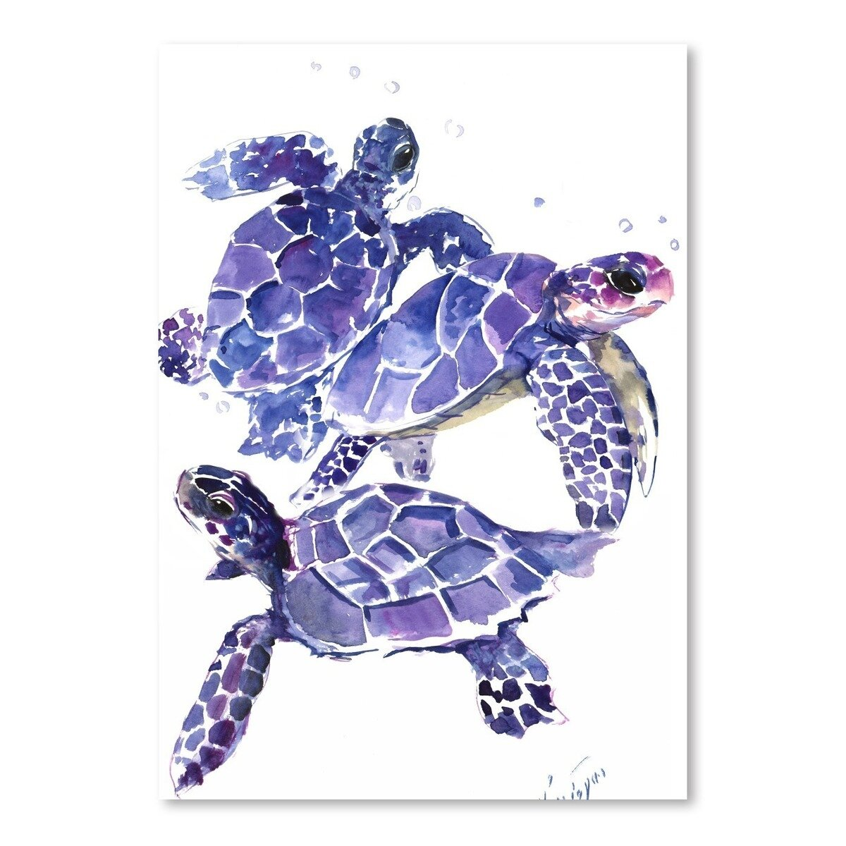 Sea Life Turtle Wave Rug2 Bath Mat: Americanflat 'Sea Turtles' By Suren Nersisyan Painting