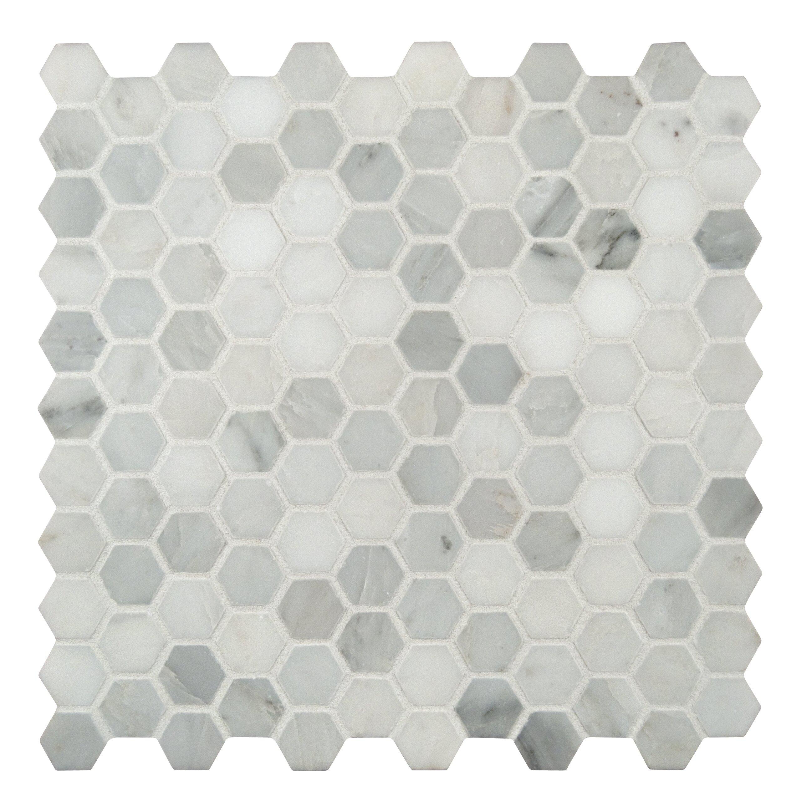 Marble Mosaic Tile Floor : Msi arabescato carrara quot hexagon dot marble mosaic