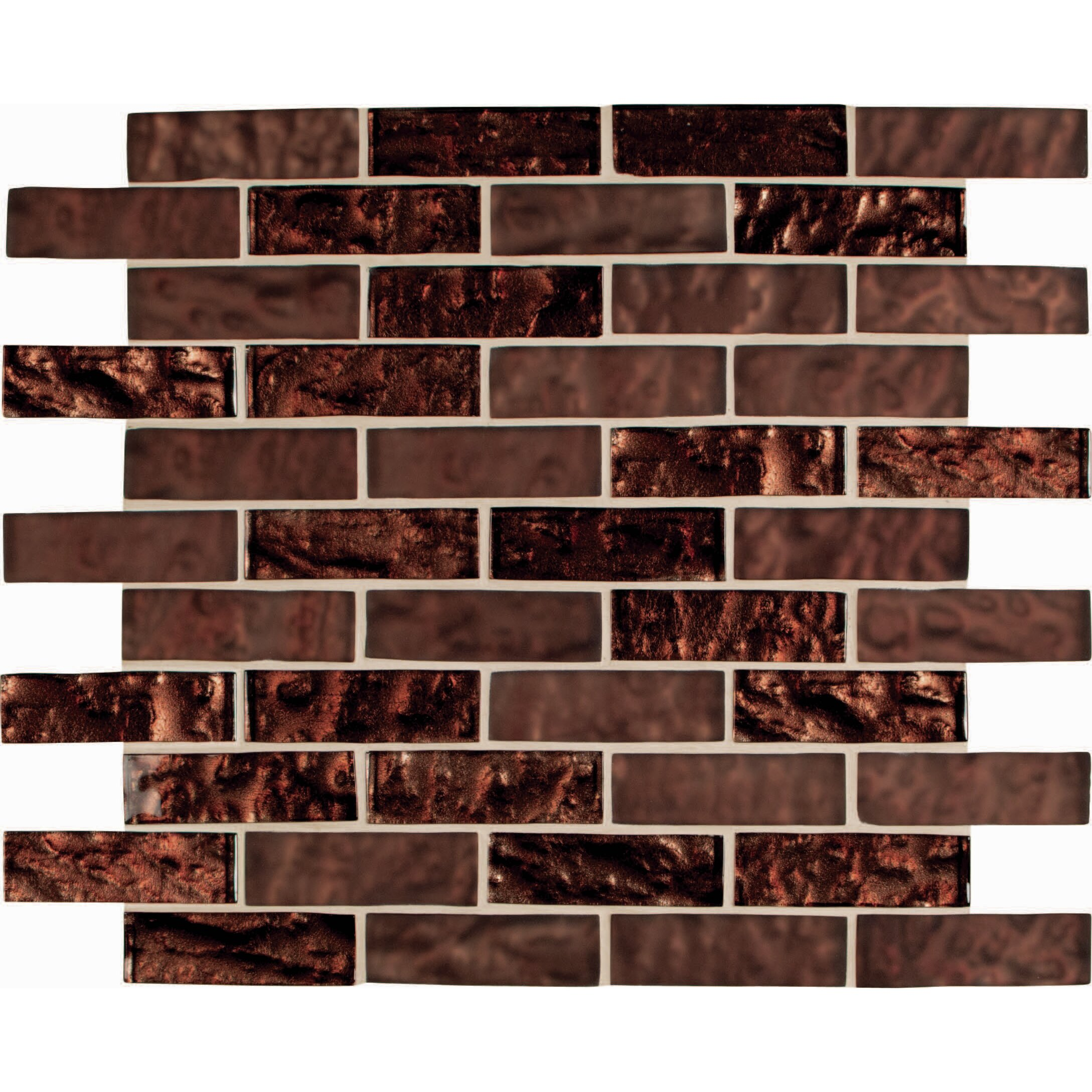 Msi copper leaf blend 1 x 3 glass mosaic tile in brown for Installing glass tile with mesh back