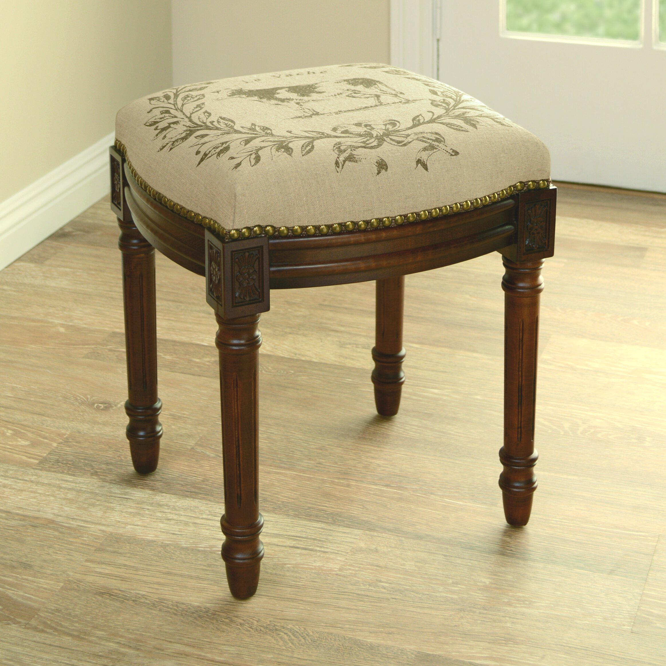 Cow Linen Upholstered Vanity Stool With Nailhead Wayfair