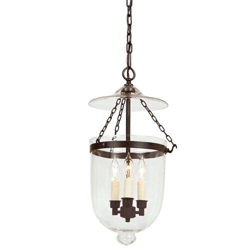 jvi designs 3 light medium bell jar foyer pendant reviews wayfair. Black Bedroom Furniture Sets. Home Design Ideas