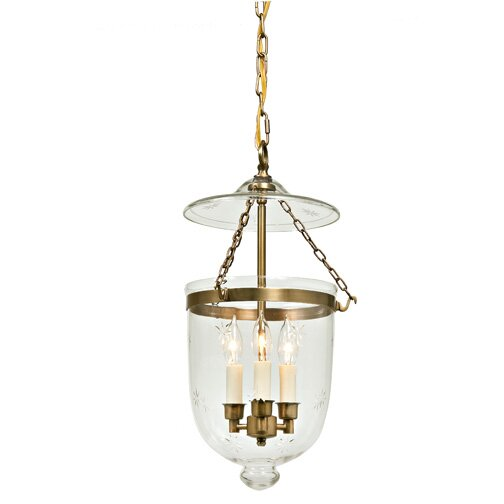 Medium Foyer Chandelier : Light medium bell jar foyer pendant with star glass