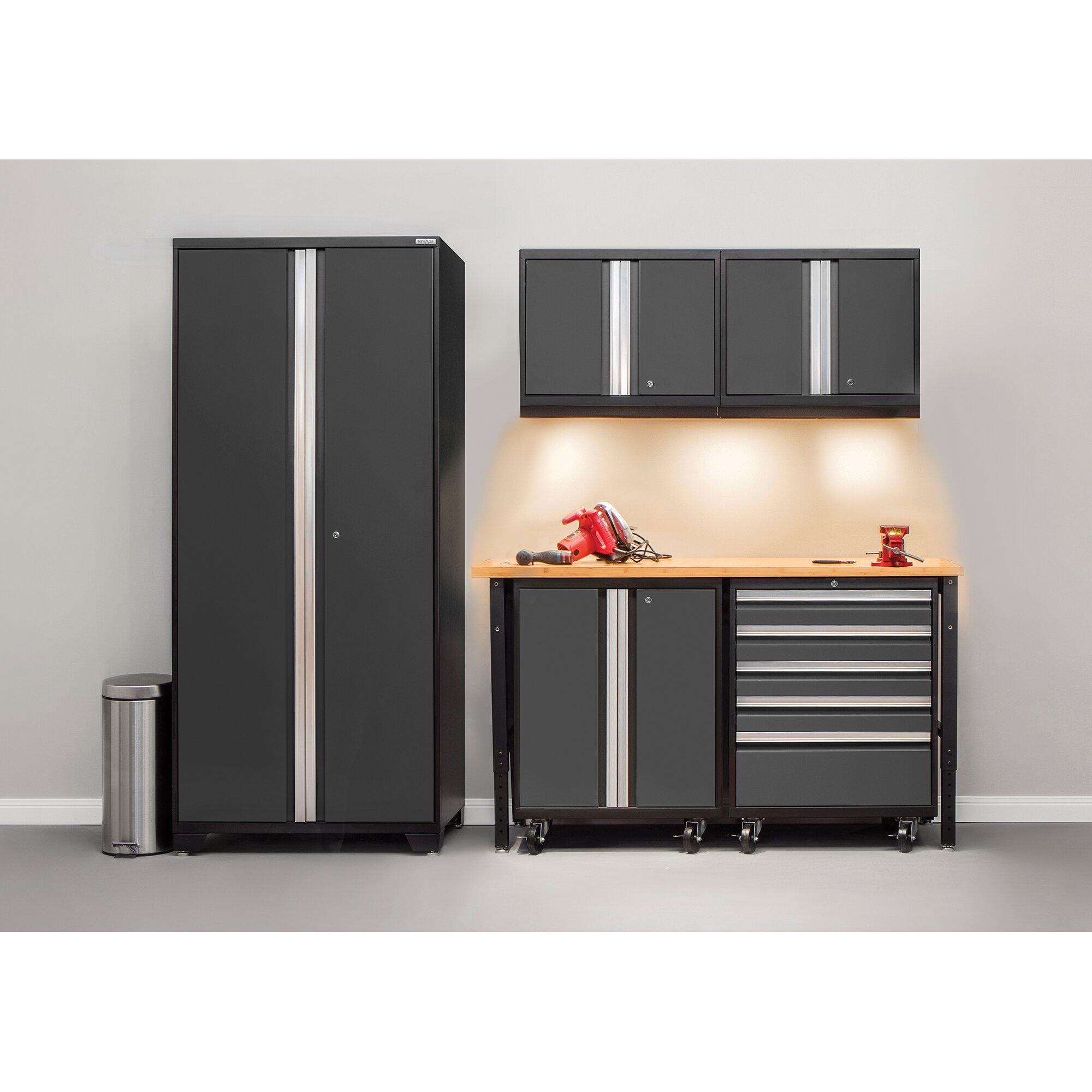 Economical Two Car Garage With Storage: NewAge Products Pro 3.0 Series 6-Piece Garage Storage