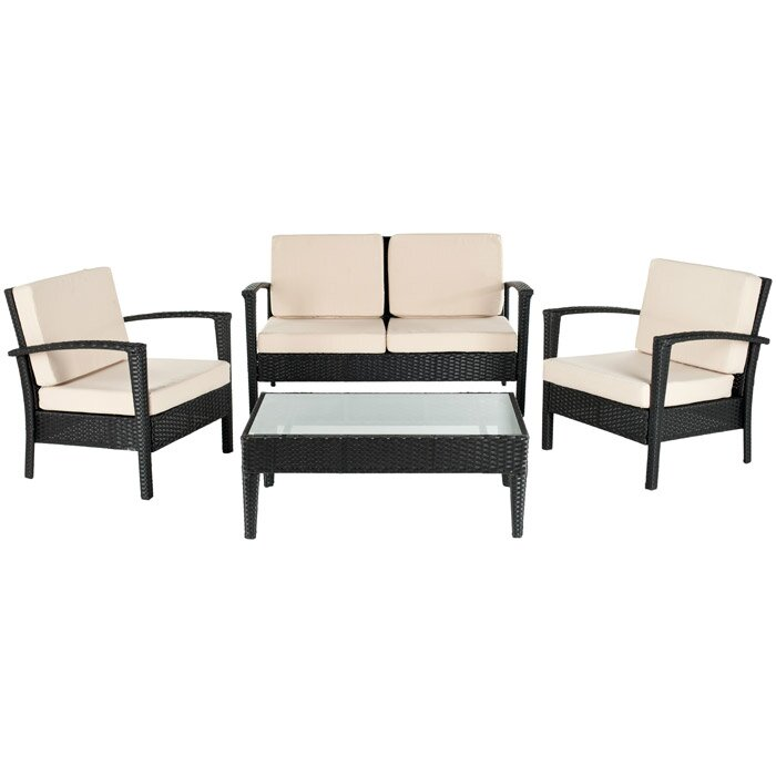 Brayden Studio Steinman 4 Piece Deep Seating Group With Cushions Reviews Wayfair