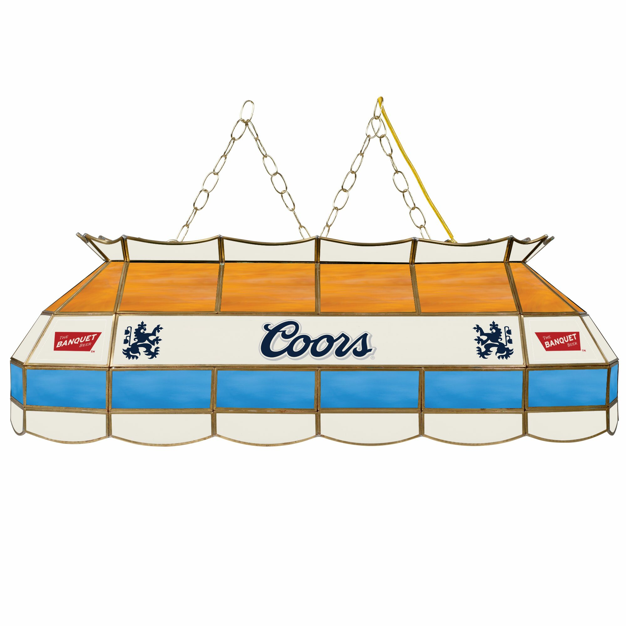 Coors Light Stained Glass Pool Table Light: Coors Banquet 3 Light Pool Table Light