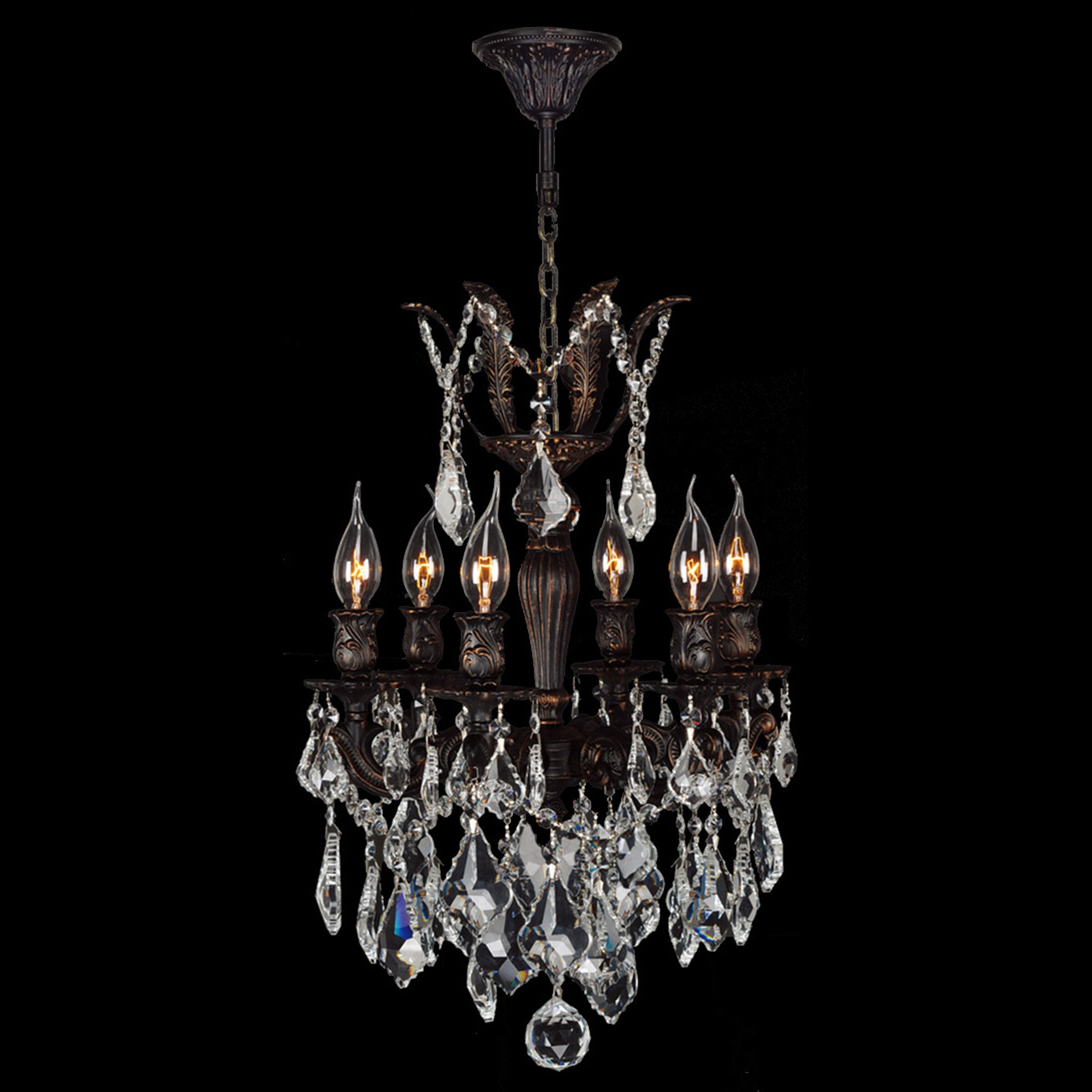 Worldwide lighting versailles 6 light crystal chandelier for 6 light crystal chandelier